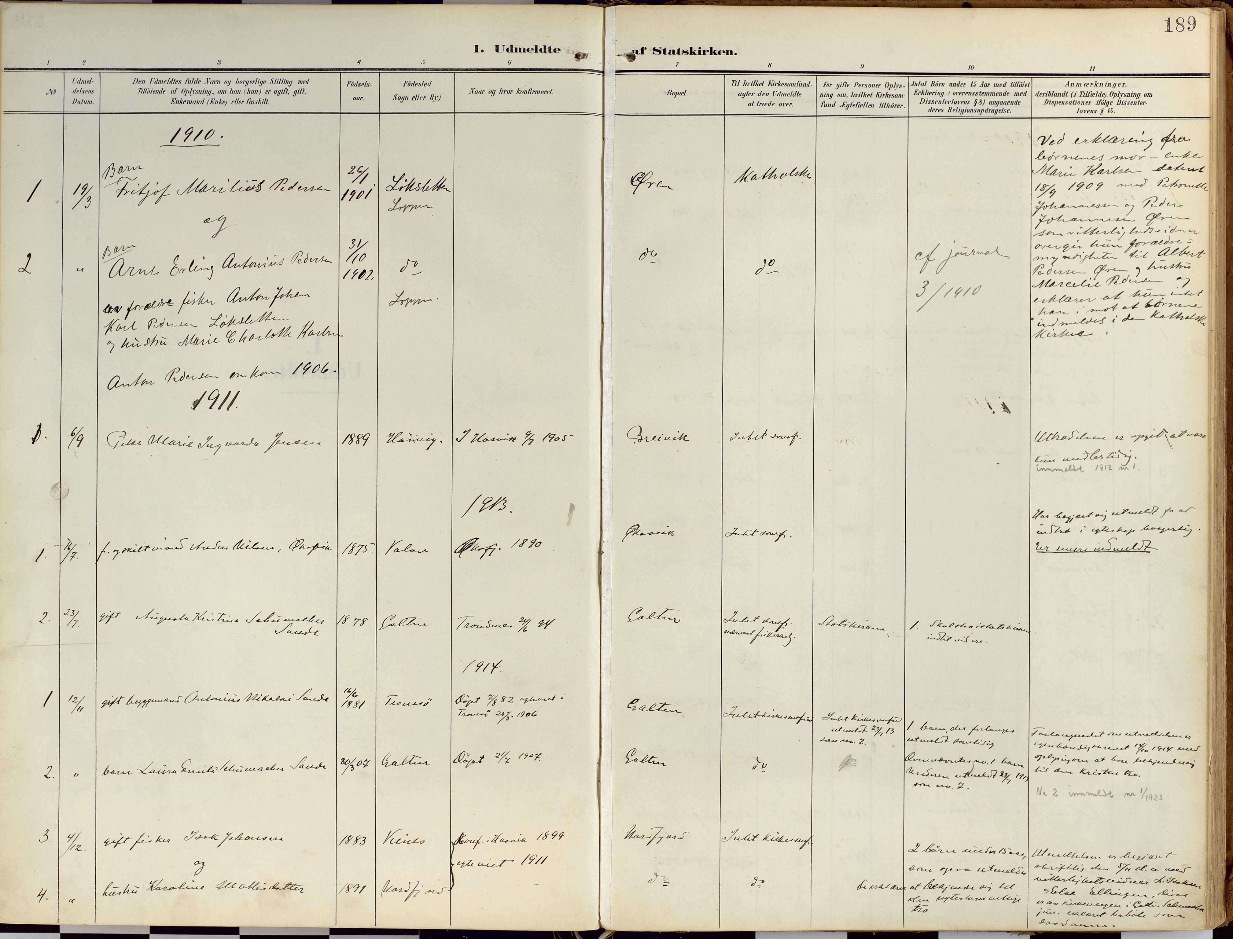SATØ, Loppa sokneprestkontor, H/Ha/L0010kirke: Ministerialbok nr. 10, 1907-1922, s. 189
