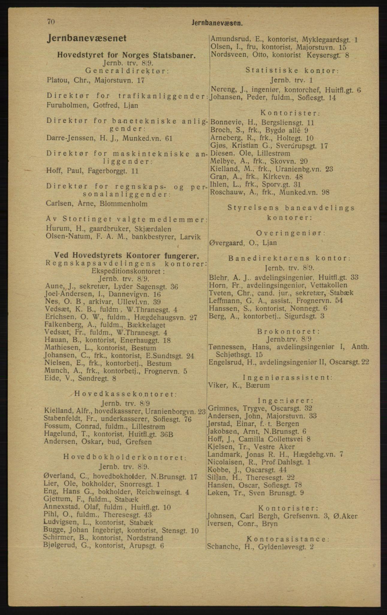 RA, Kristiania adressebok (publikasjon)*, 1913, s. 70