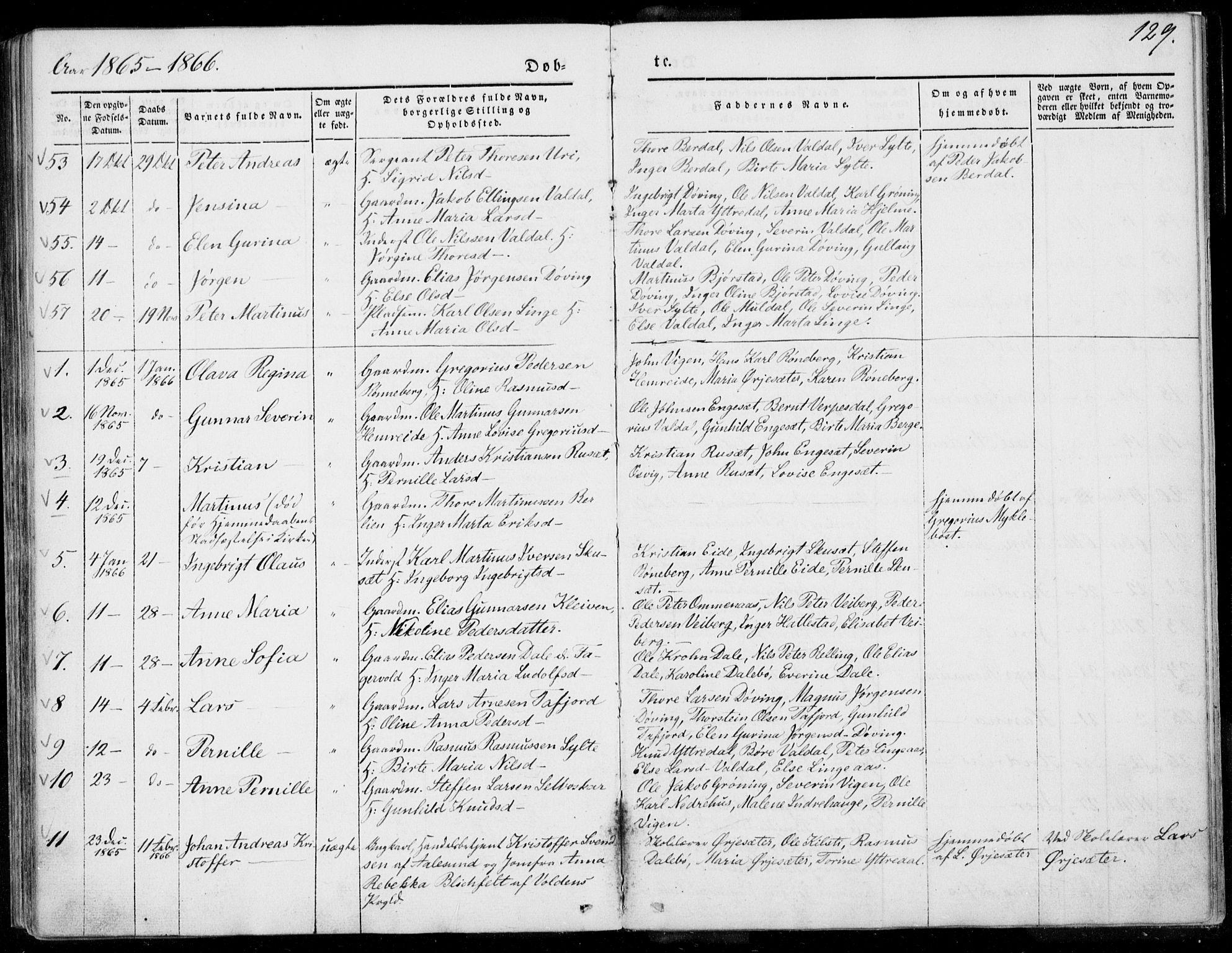SAT, Ministerialprotokoller, klokkerbøker og fødselsregistre - Møre og Romsdal, 519/L0249: Ministerialbok nr. 519A08, 1846-1868, s. 129