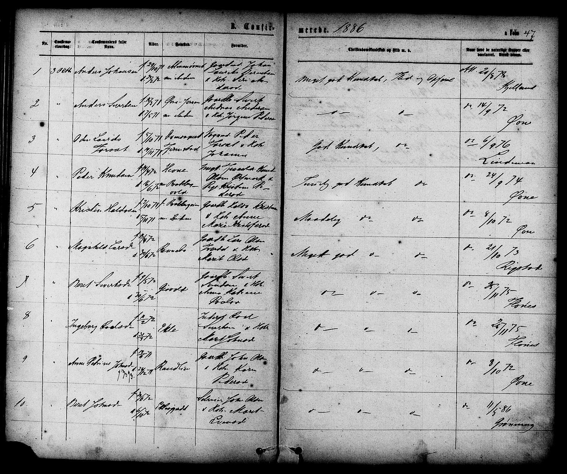 SAT, Ministerialprotokoller, klokkerbøker og fødselsregistre - Sør-Trøndelag, 608/L0334: Ministerialbok nr. 608A03, 1877-1886, s. 47