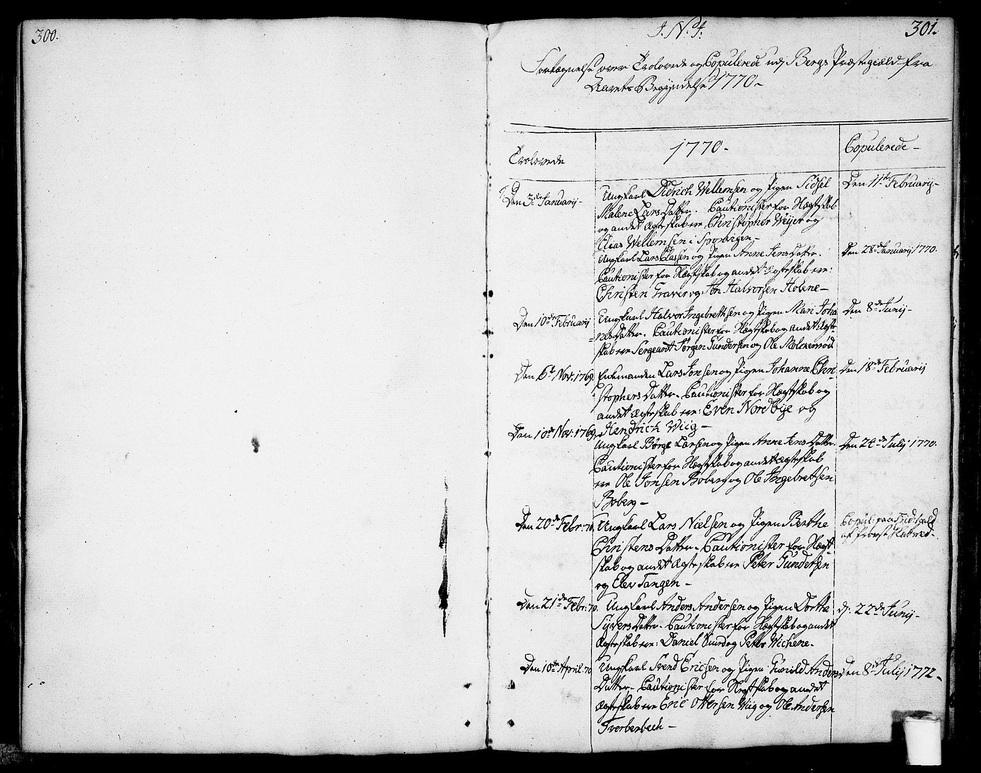 SAO, Berg prestekontor Kirkebøker, F/Fa/L0001: Ministerialbok nr. I 1, 1770-1814, s. 300-301