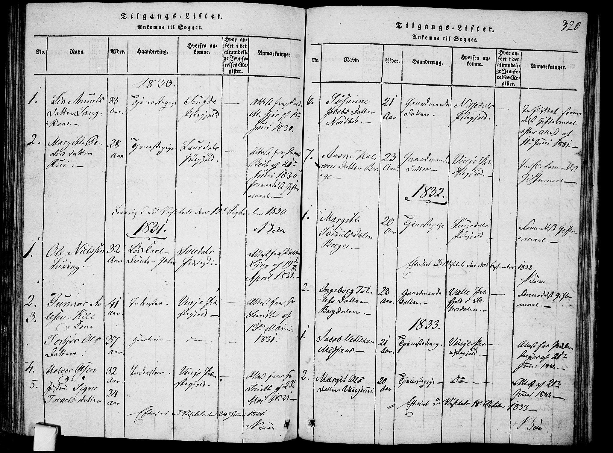 SAKO, Mo kirkebøker, F/Fa/L0004: Ministerialbok nr. I 4, 1814-1844, s. 320