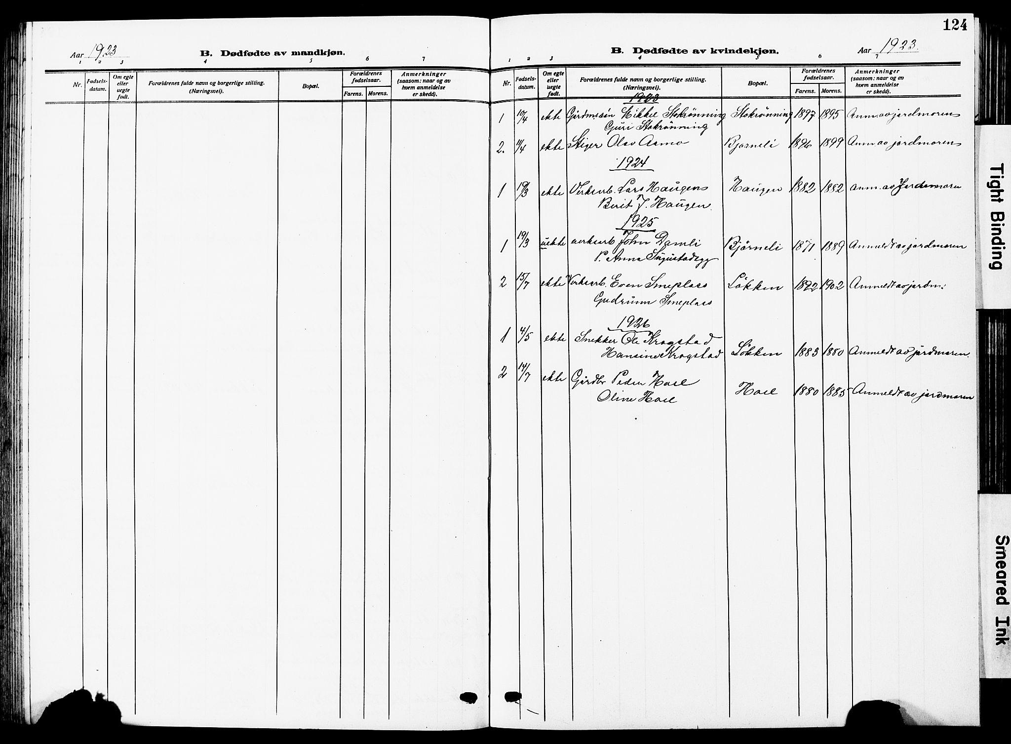 SAT, Ministerialprotokoller, klokkerbøker og fødselsregistre - Sør-Trøndelag, 672/L0865: Klokkerbok nr. 672C04, 1914-1928, s. 124