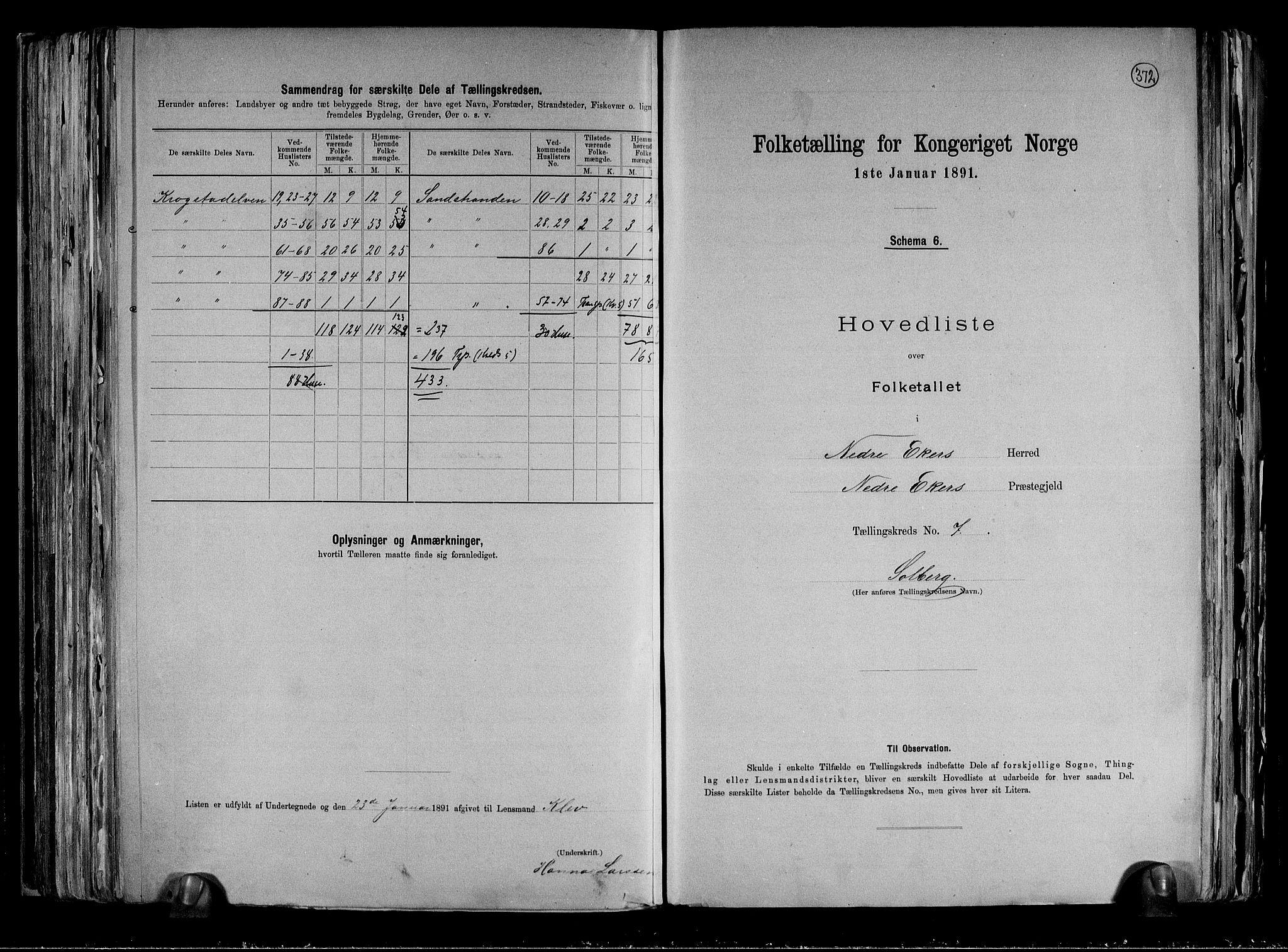 RA, Folketelling 1891 for 0625 Nedre Eiker herred, 1891, s. 19