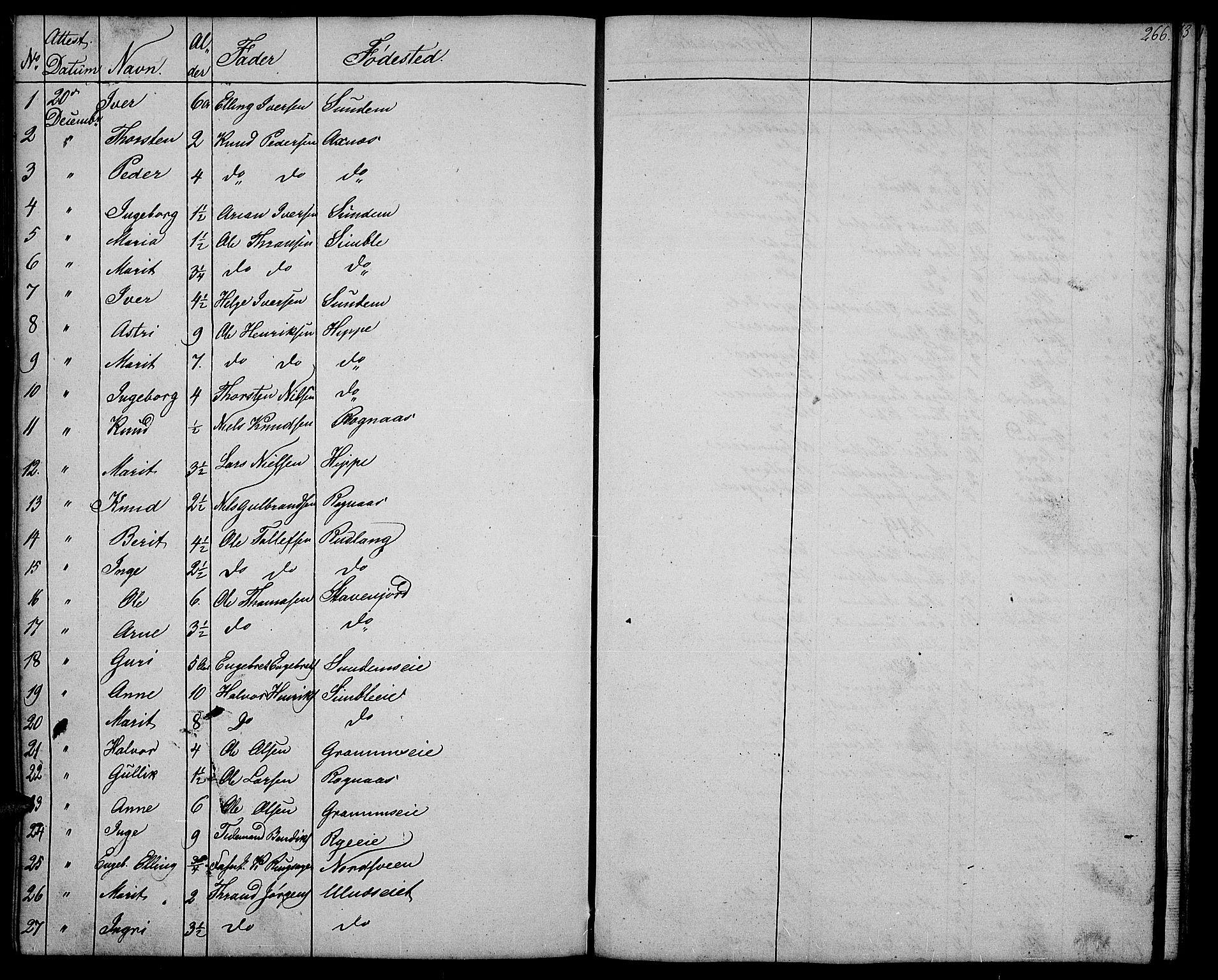 SAH, Nord-Aurdal prestekontor, Klokkerbok nr. 4, 1842-1882, s. 266