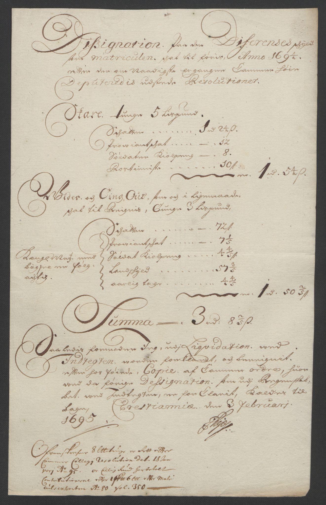 RA, Rentekammeret inntil 1814, Reviderte regnskaper, Fogderegnskap, R13/L0832: Fogderegnskap Solør, Odal og Østerdal, 1694, s. 219