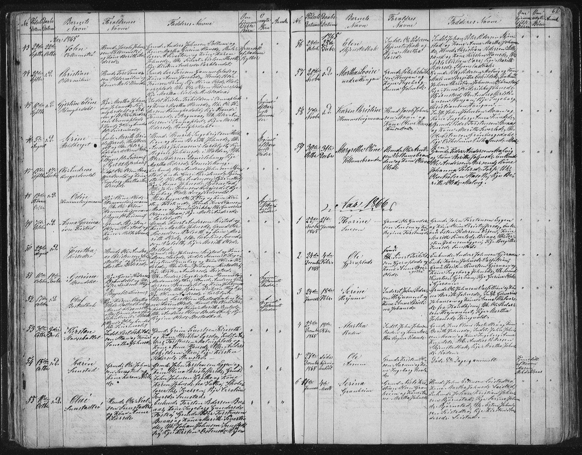 SAT, Ministerialprotokoller, klokkerbøker og fødselsregistre - Sør-Trøndelag, 616/L0406: Ministerialbok nr. 616A03, 1843-1879, s. 62