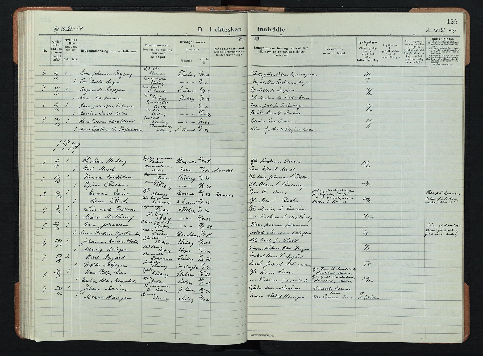 SAH, Søndre Land prestekontor, L/L0008: Klokkerbok nr. 8, 1926-1950, s. 125