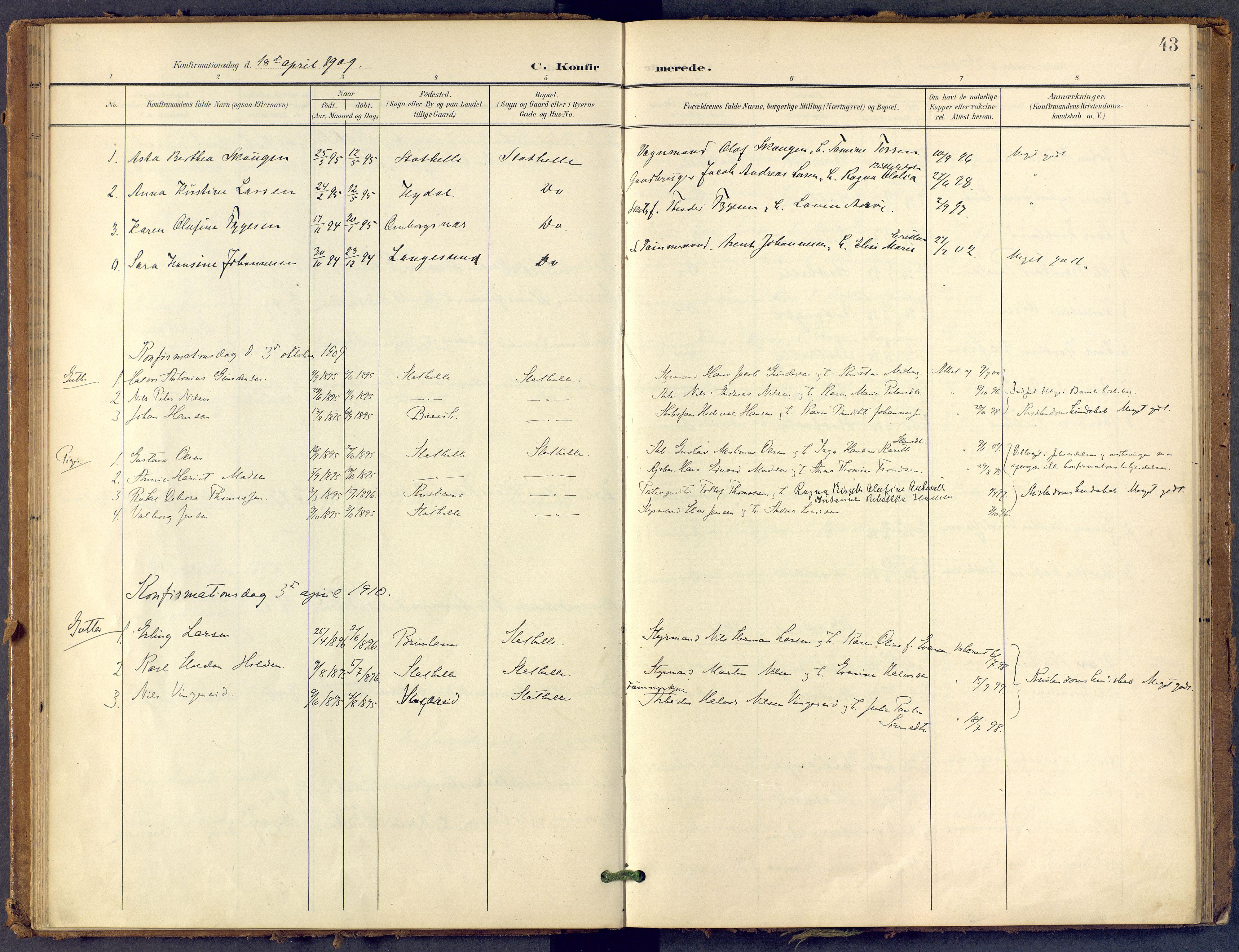 SAKO, Bamble kirkebøker, F/Fb/L0002: Ministerialbok nr. II 2, 1900-1921, s. 43