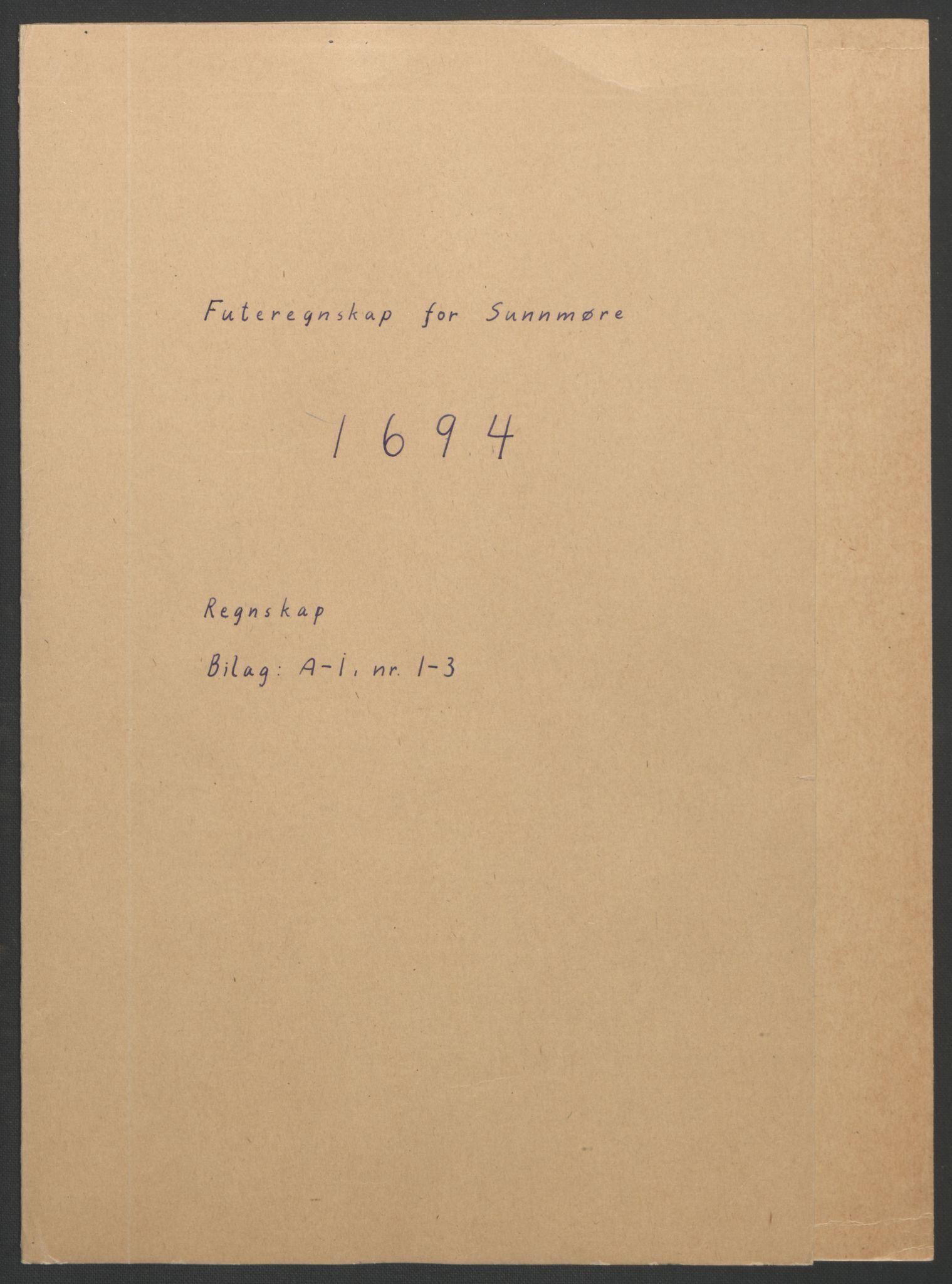 RA, Rentekammeret inntil 1814, Reviderte regnskaper, Fogderegnskap, R54/L3555: Fogderegnskap Sunnmøre, 1694-1695, s. 2