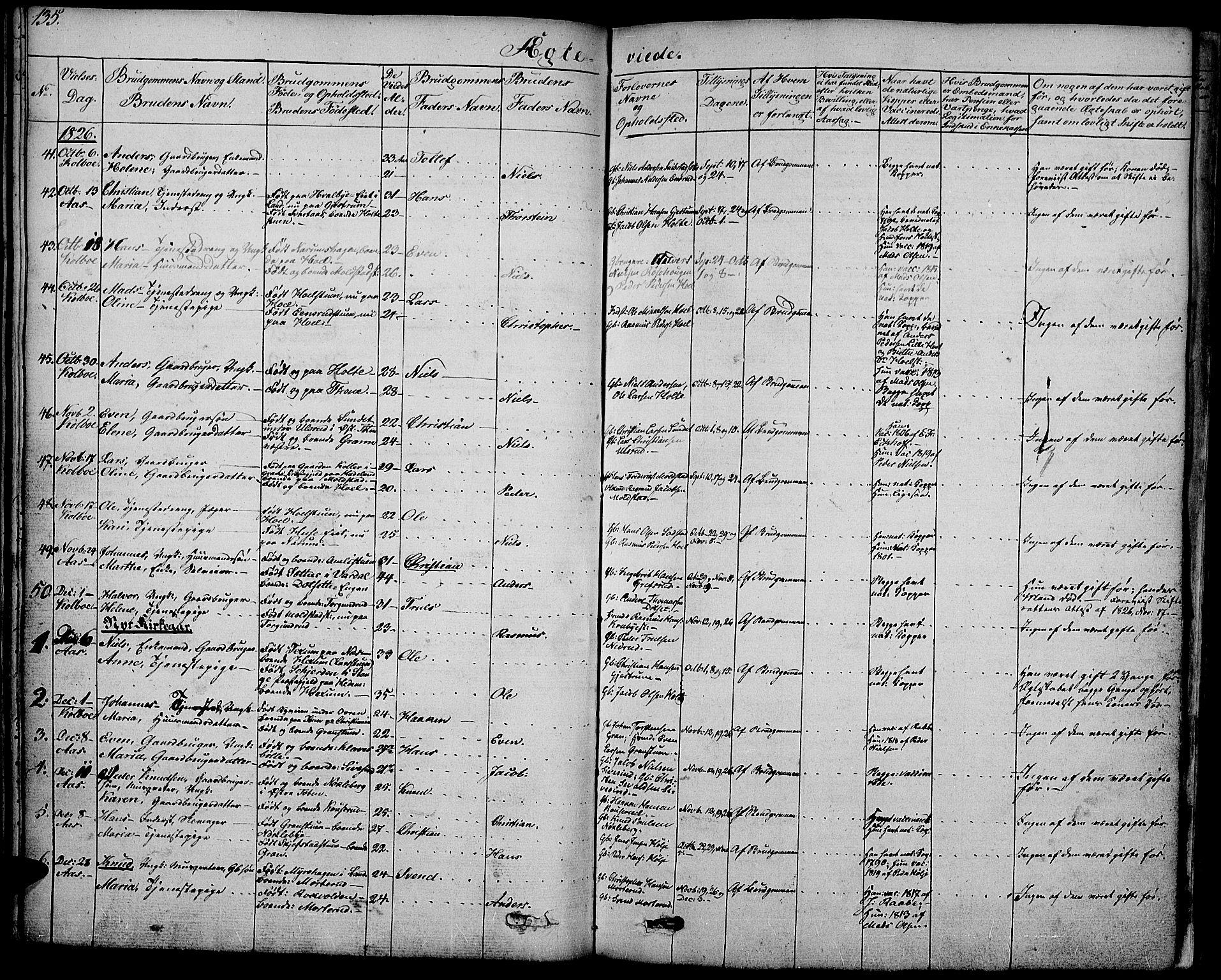 SAH, Vestre Toten prestekontor, H/Ha/Haa/L0002: Ministerialbok nr. 2, 1825-1837, s. 135
