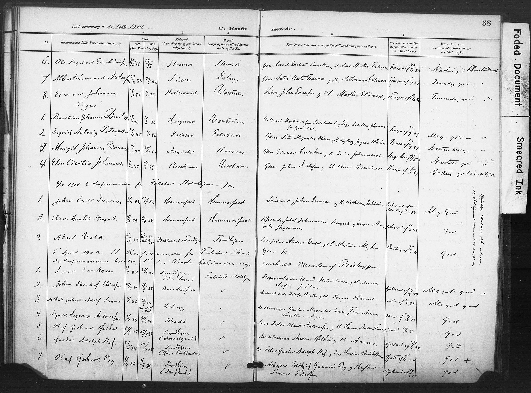 SAT, Ministerialprotokoller, klokkerbøker og fødselsregistre - Nord-Trøndelag, 719/L0179: Ministerialbok nr. 719A02, 1901-1923, s. 38