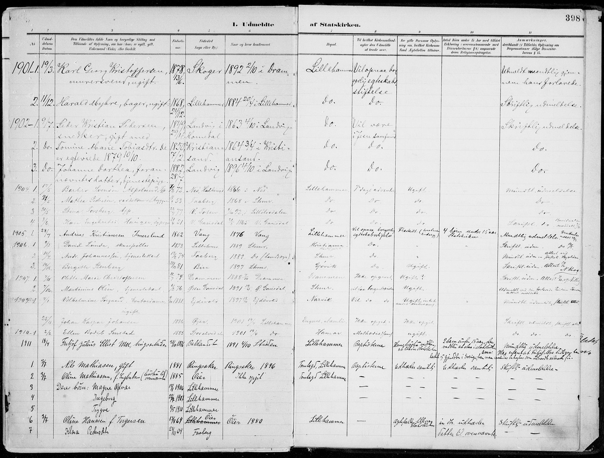 SAH, Lillehammer prestekontor, Ministerialbok nr. 1, 1901-1916, s. 398