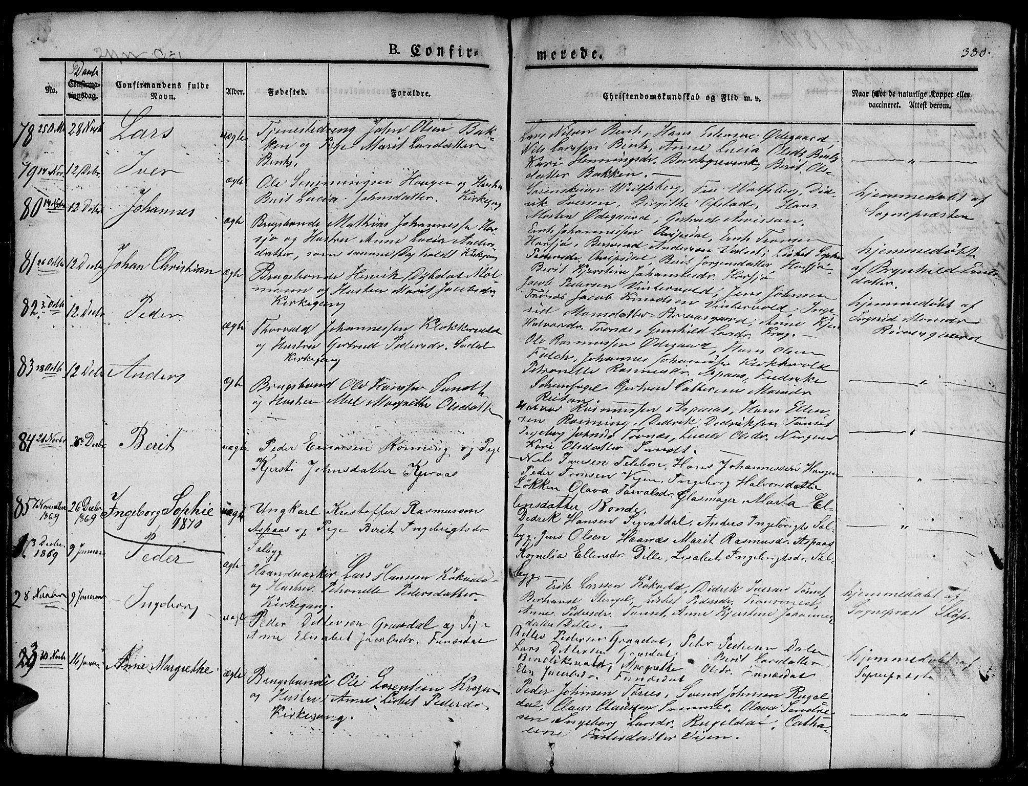 SAT, Ministerialprotokoller, klokkerbøker og fødselsregistre - Sør-Trøndelag, 681/L0938: Klokkerbok nr. 681C02, 1829-1879, s. 380