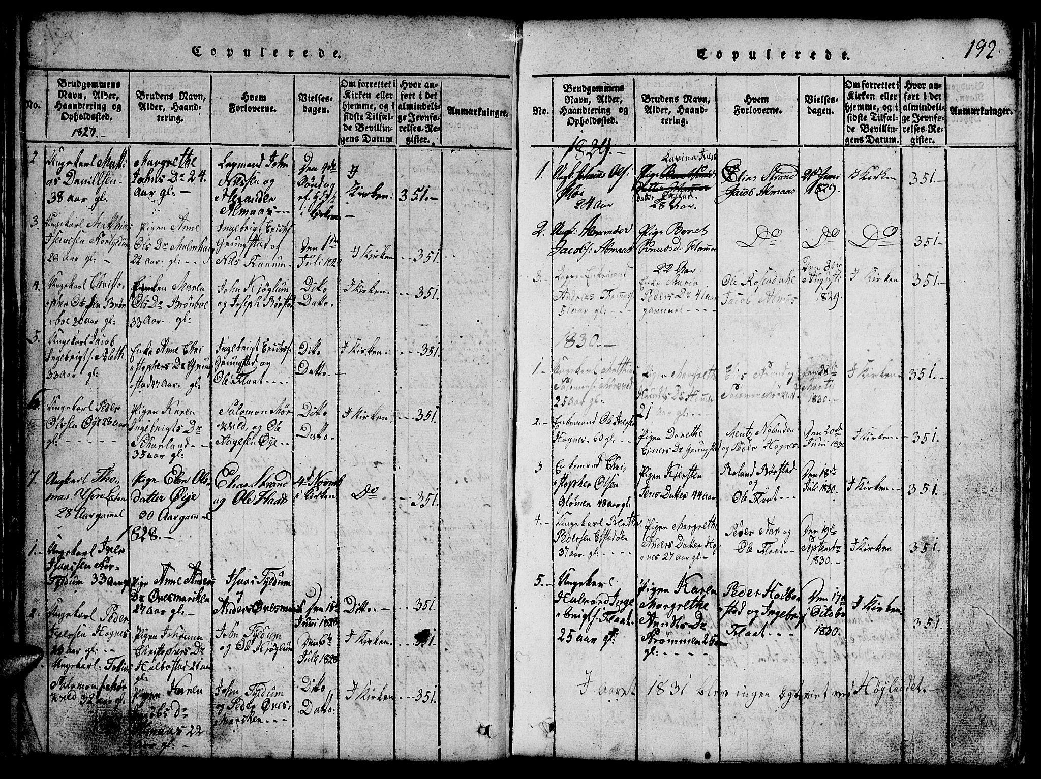 SAT, Ministerialprotokoller, klokkerbøker og fødselsregistre - Nord-Trøndelag, 765/L0562: Klokkerbok nr. 765C01, 1817-1851, s. 192