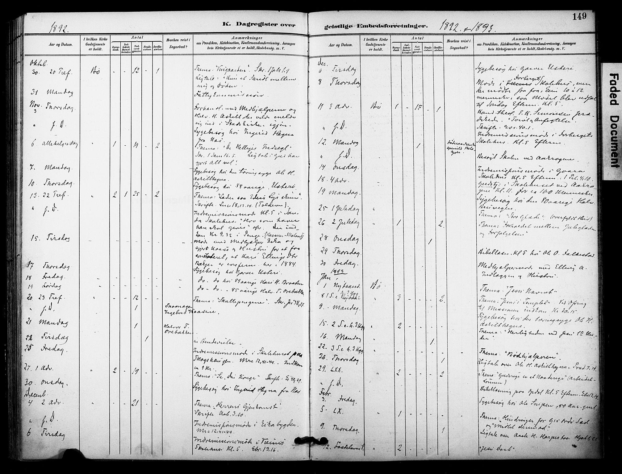 SAKO, Bø kirkebøker, F/Fa/L0011: Ministerialbok nr. 11, 1892-1900, s. 149