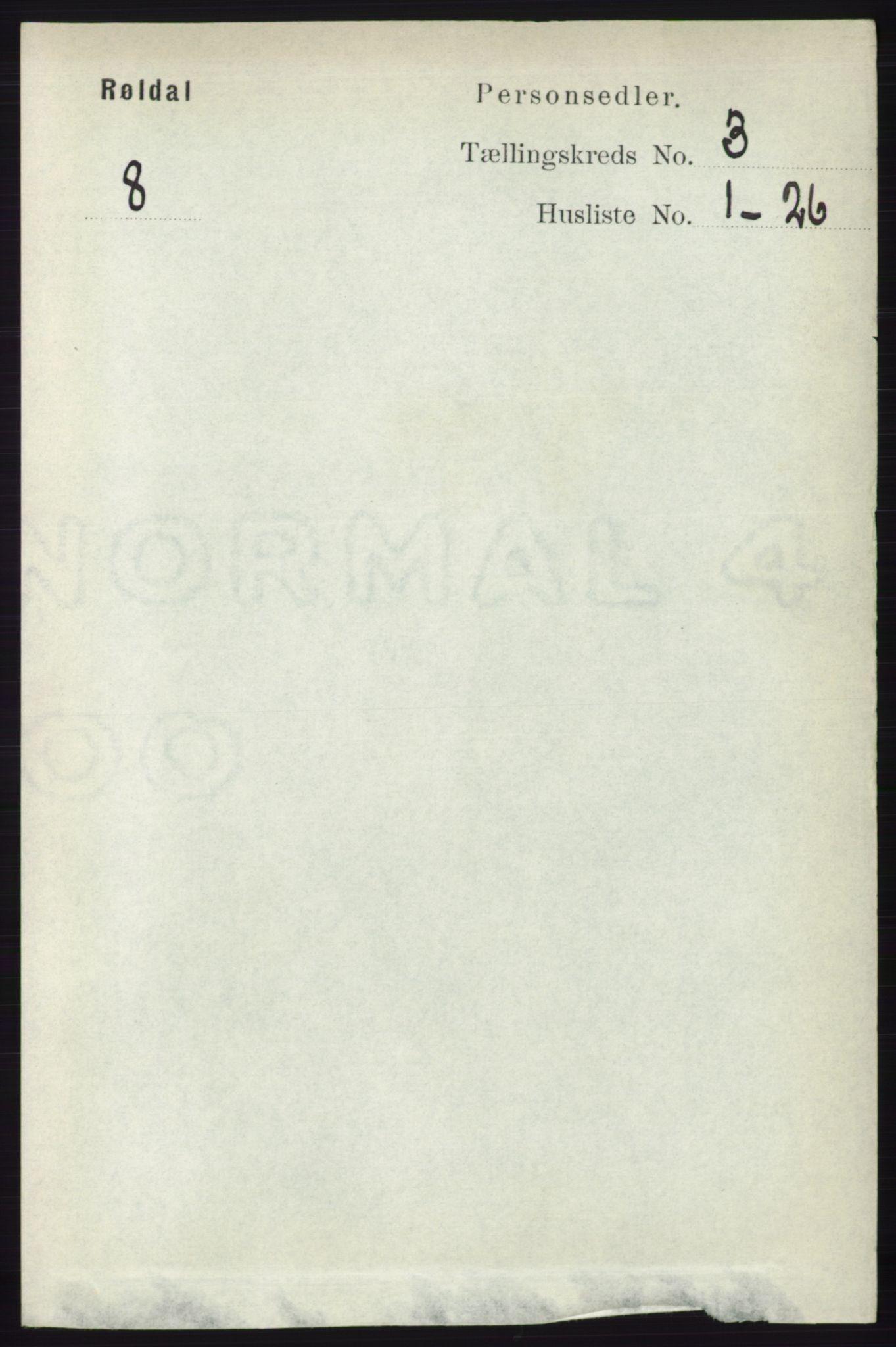 RA, Folketelling 1891 for 1229 Røldal herred, 1891, s. 898