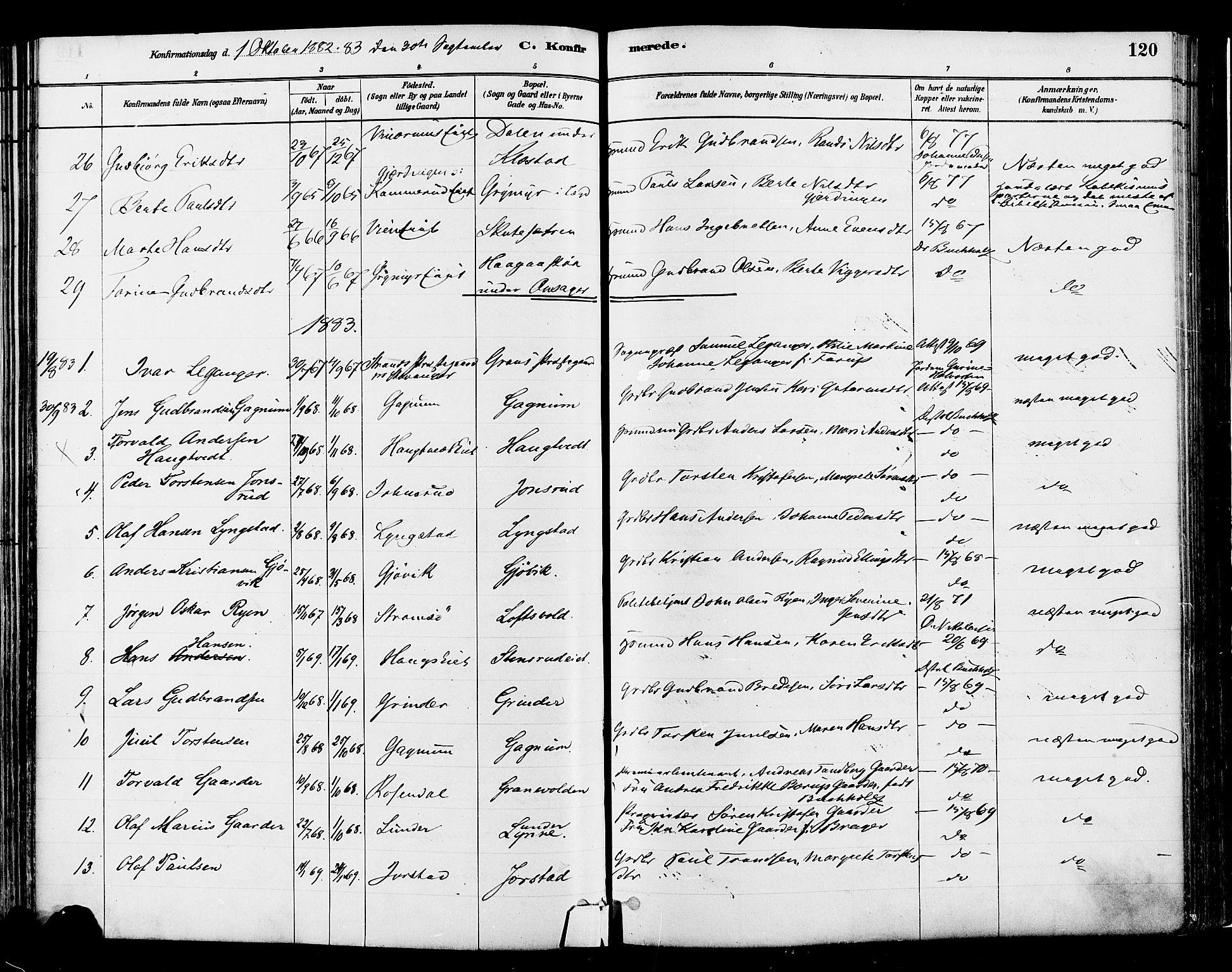 SAH, Gran prestekontor, Ministerialbok nr. 14, 1880-1889, s. 120
