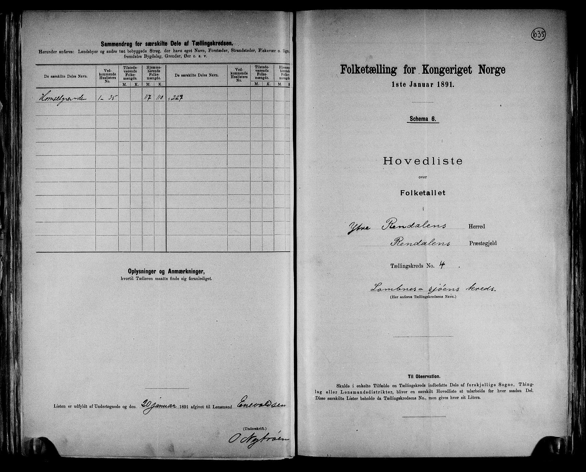 RA, Folketelling 1891 for 0432 Ytre Rendal herred, 1891, s. 11