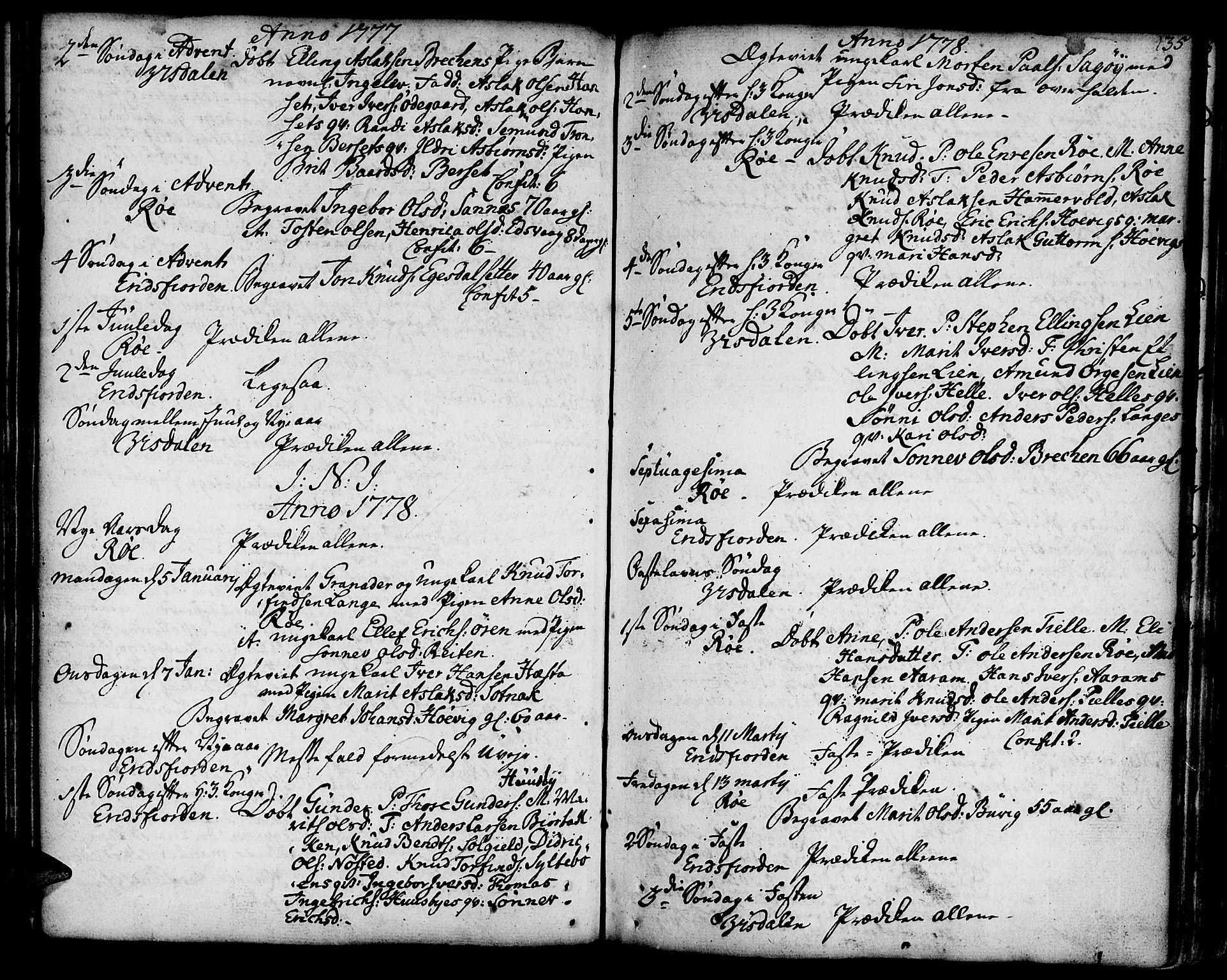 SAT, Ministerialprotokoller, klokkerbøker og fødselsregistre - Møre og Romsdal, 551/L0621: Ministerialbok nr. 551A01, 1757-1803, s. 135
