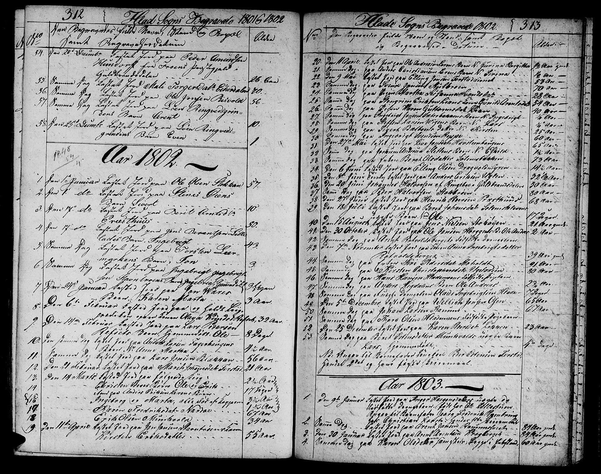 SAT, Ministerialprotokoller, klokkerbøker og fødselsregistre - Sør-Trøndelag, 606/L0306: Klokkerbok nr. 606C02, 1797-1829, s. 312-313