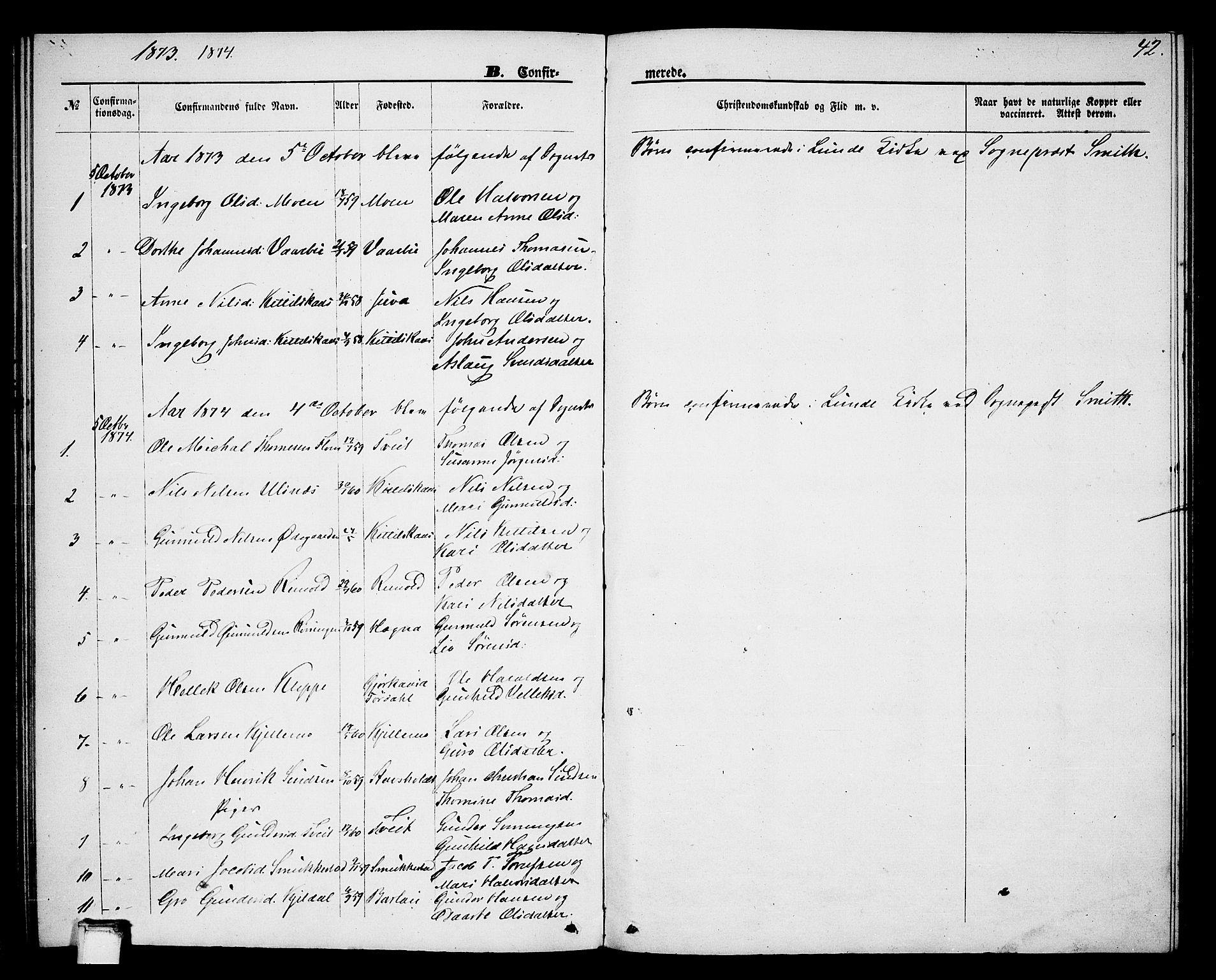 SAKO, Lunde kirkebøker, G/Gb/L0001: Klokkerbok nr. II 1, 1866-1887, s. 42