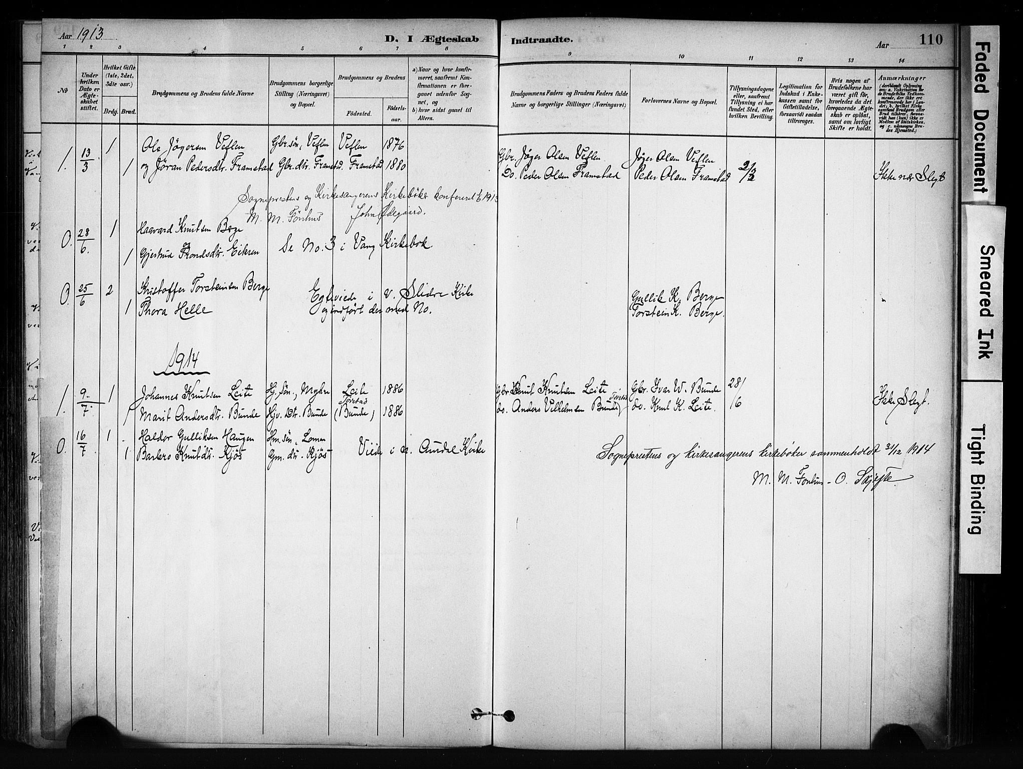 SAH, Vang prestekontor, Valdres, Ministerialbok nr. 9, 1882-1914, s. 110