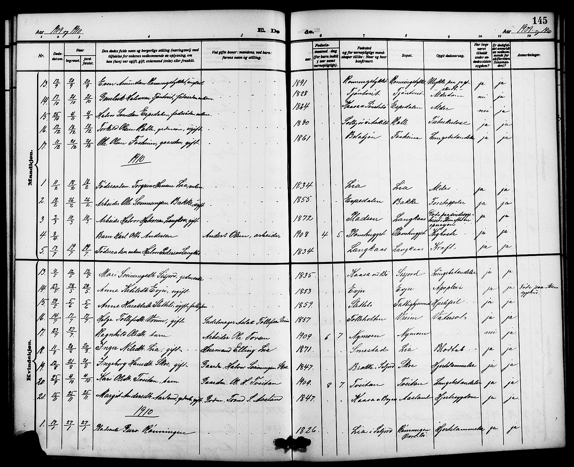 SAKO, Bø kirkebøker, G/Ga/L0007: Klokkerbok nr. 7, 1909-1924, s. 145