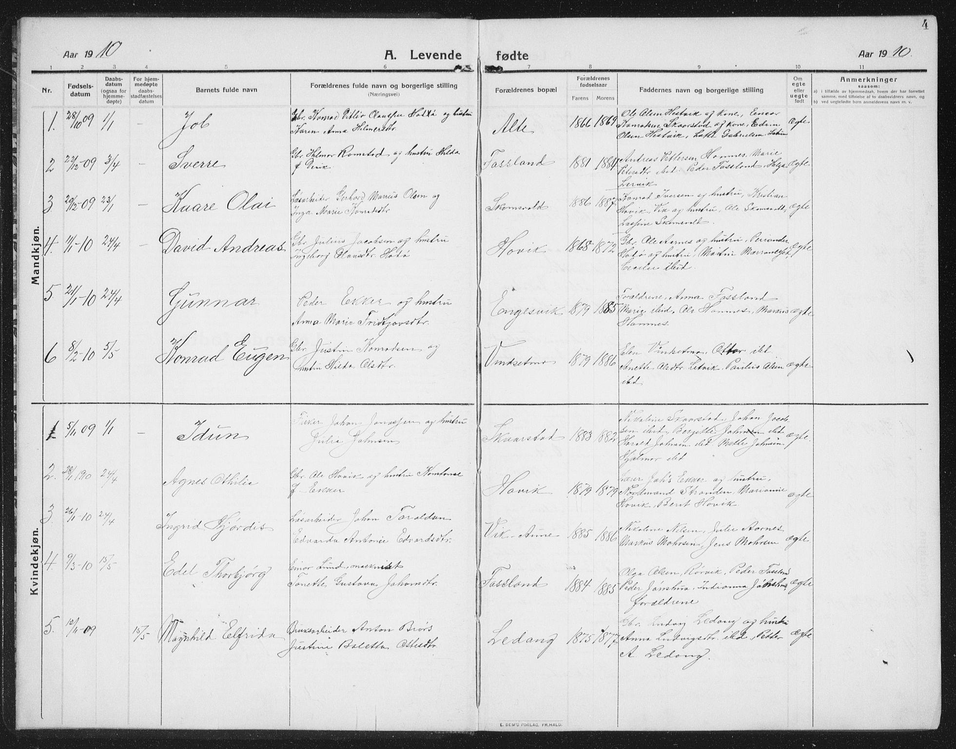 SAT, Ministerialprotokoller, klokkerbøker og fødselsregistre - Nord-Trøndelag, 774/L0630: Klokkerbok nr. 774C01, 1910-1934, s. 4