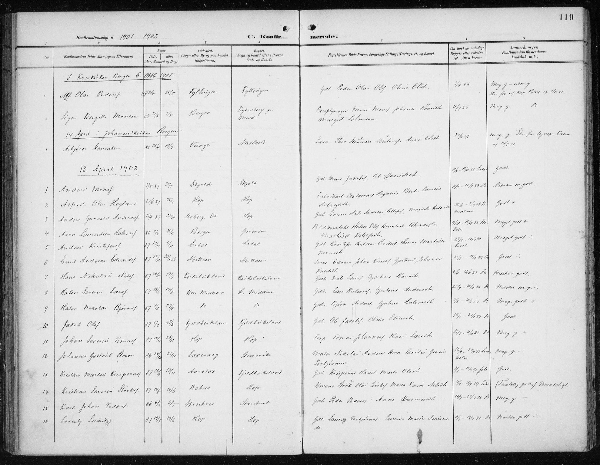 SAB, Fana Sokneprestembete, H/Haa/Haai/L0003: Ministerialbok nr. I 3, 1900-1912, s. 119