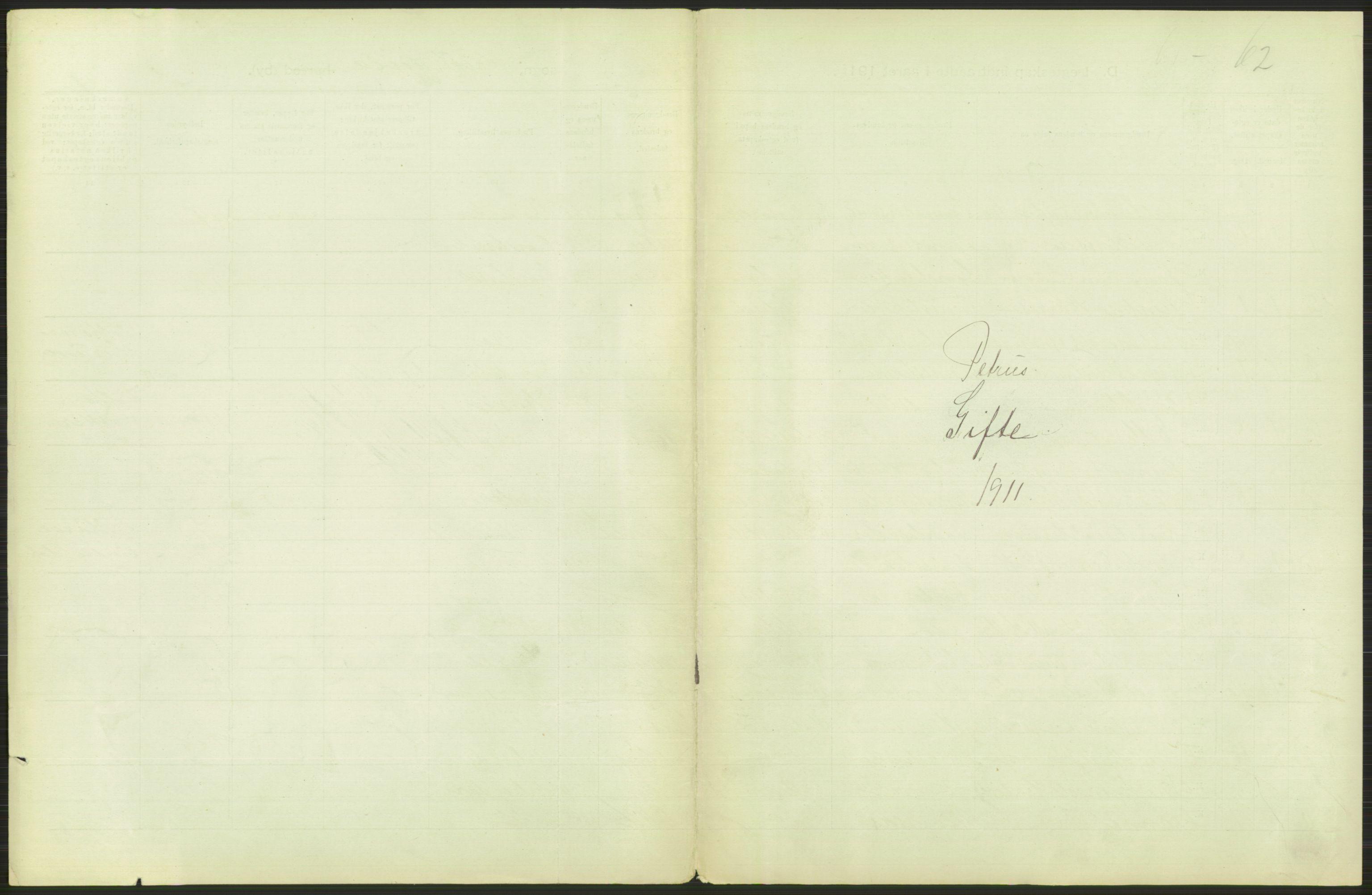 RA, Statistisk sentralbyrå, Sosiodemografiske emner, Befolkning, D/Df/Dfb/Dfba/L0008: Kristiania: Gifte, 1911