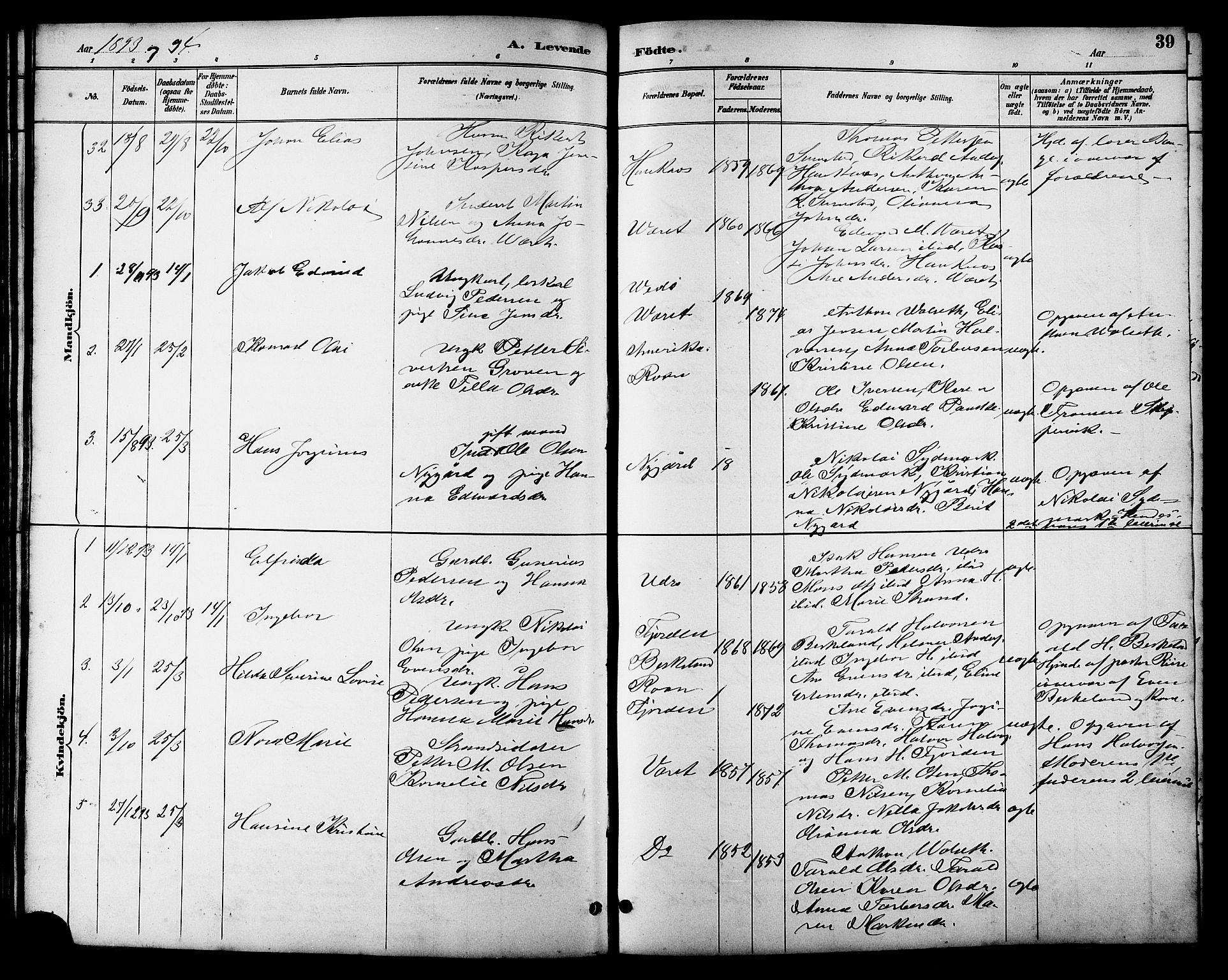 SAT, Ministerialprotokoller, klokkerbøker og fødselsregistre - Sør-Trøndelag, 657/L0716: Klokkerbok nr. 657C03, 1889-1904, s. 39