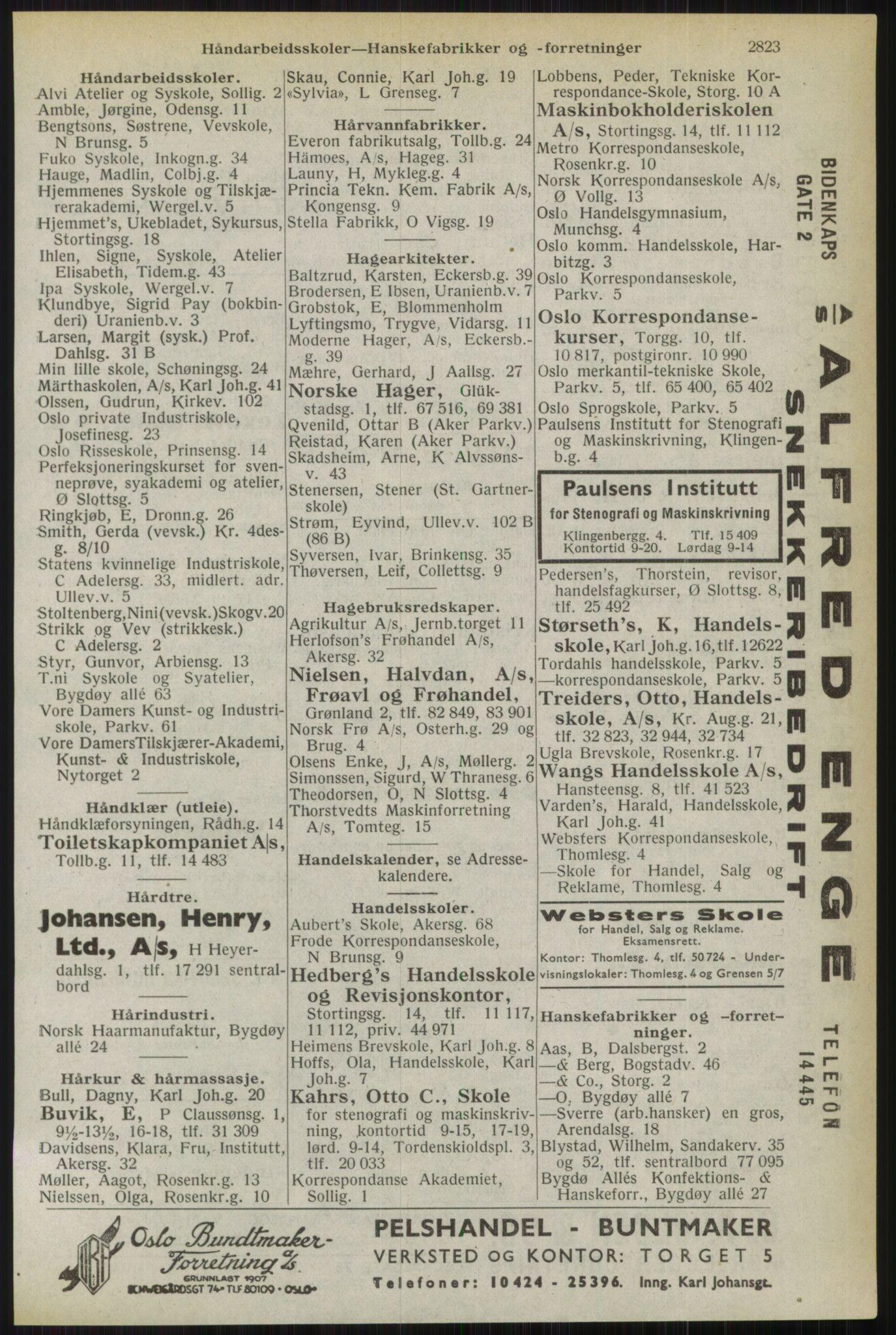 RA, Oslo adressebok (publikasjon)*, 1944, s. 2823