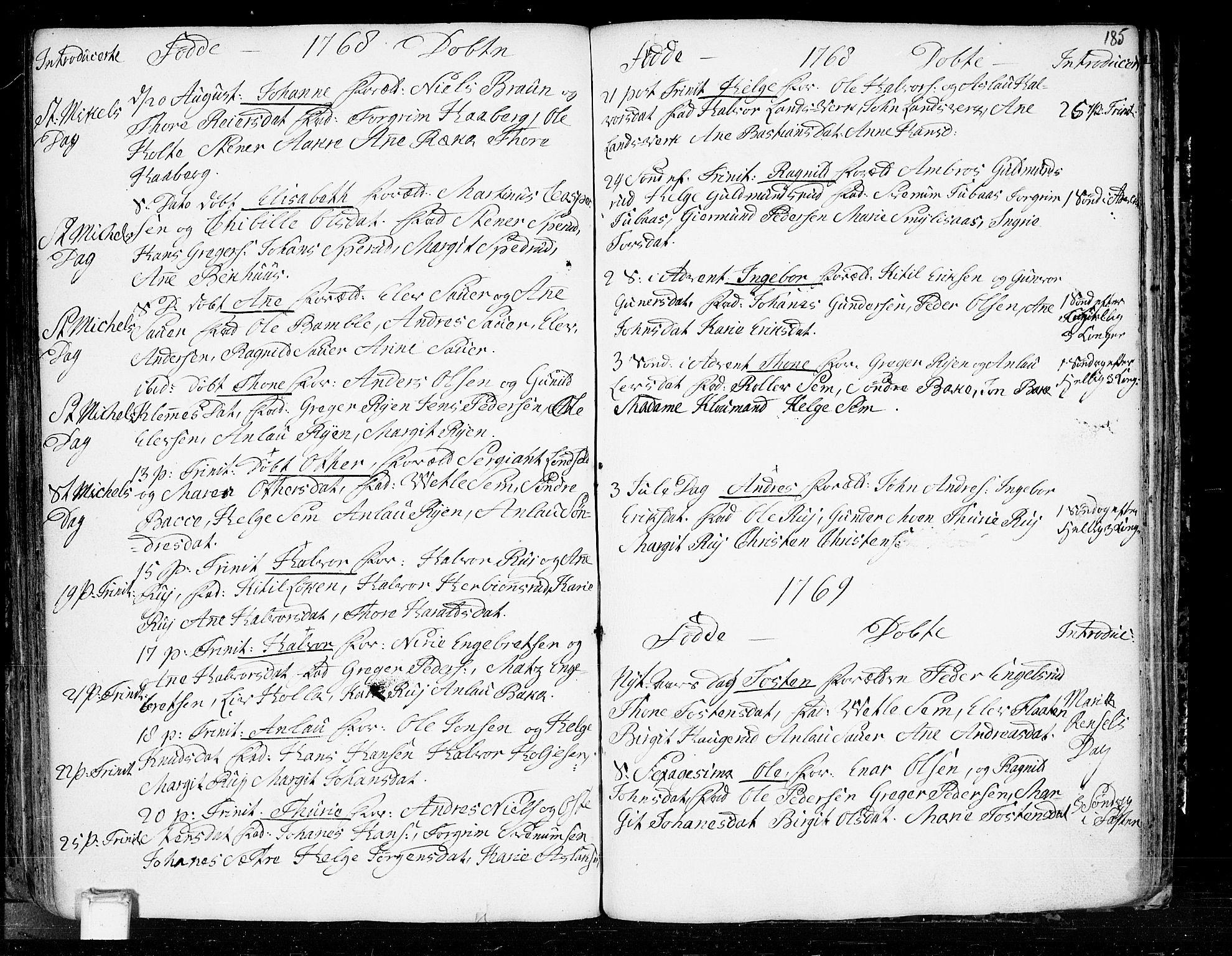 SAKO, Heddal kirkebøker, F/Fa/L0003: Ministerialbok nr. I 3, 1723-1783, s. 185