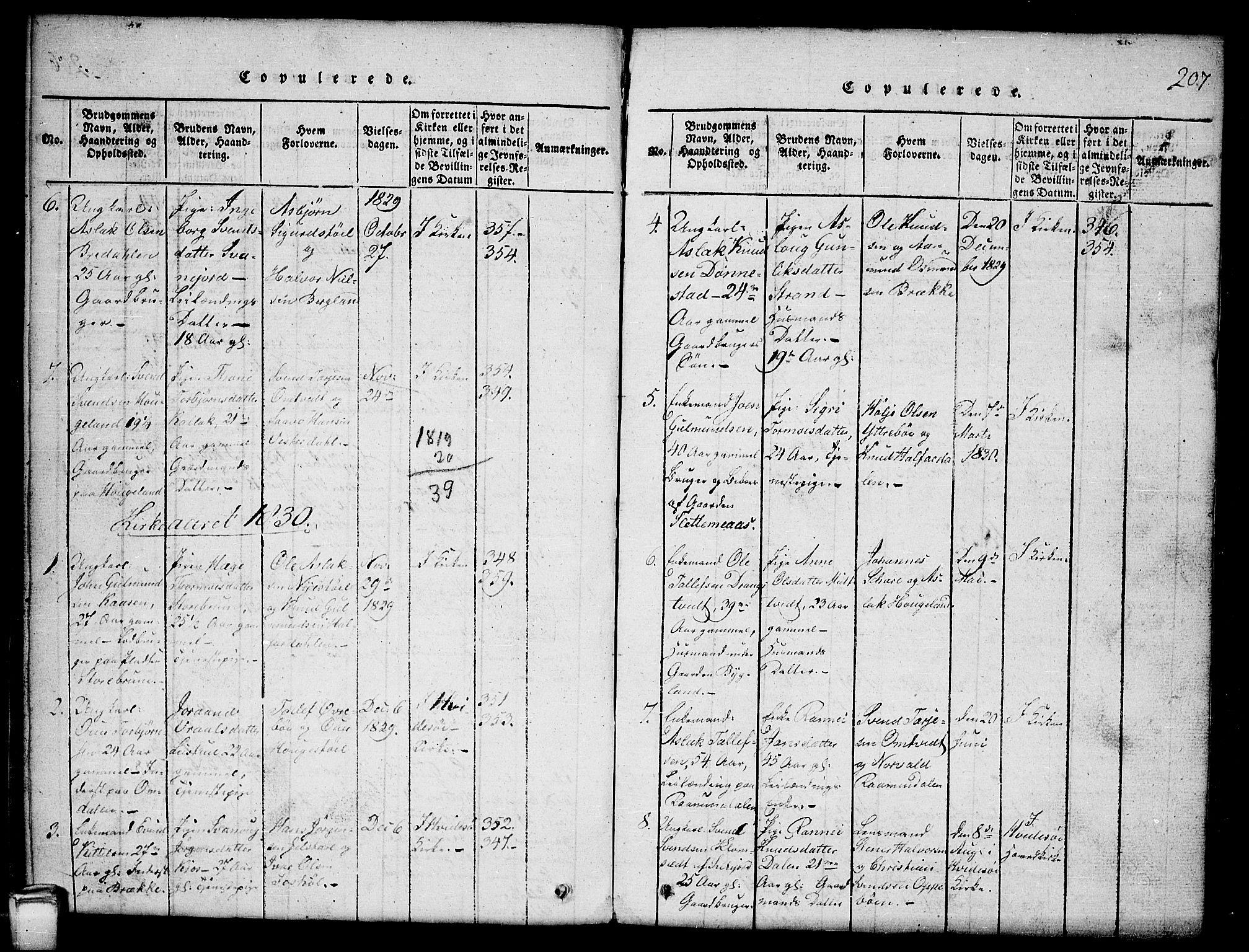 SAKO, Kviteseid kirkebøker, G/Gb/L0001: Klokkerbok nr. II 1, 1815-1842, s. 207