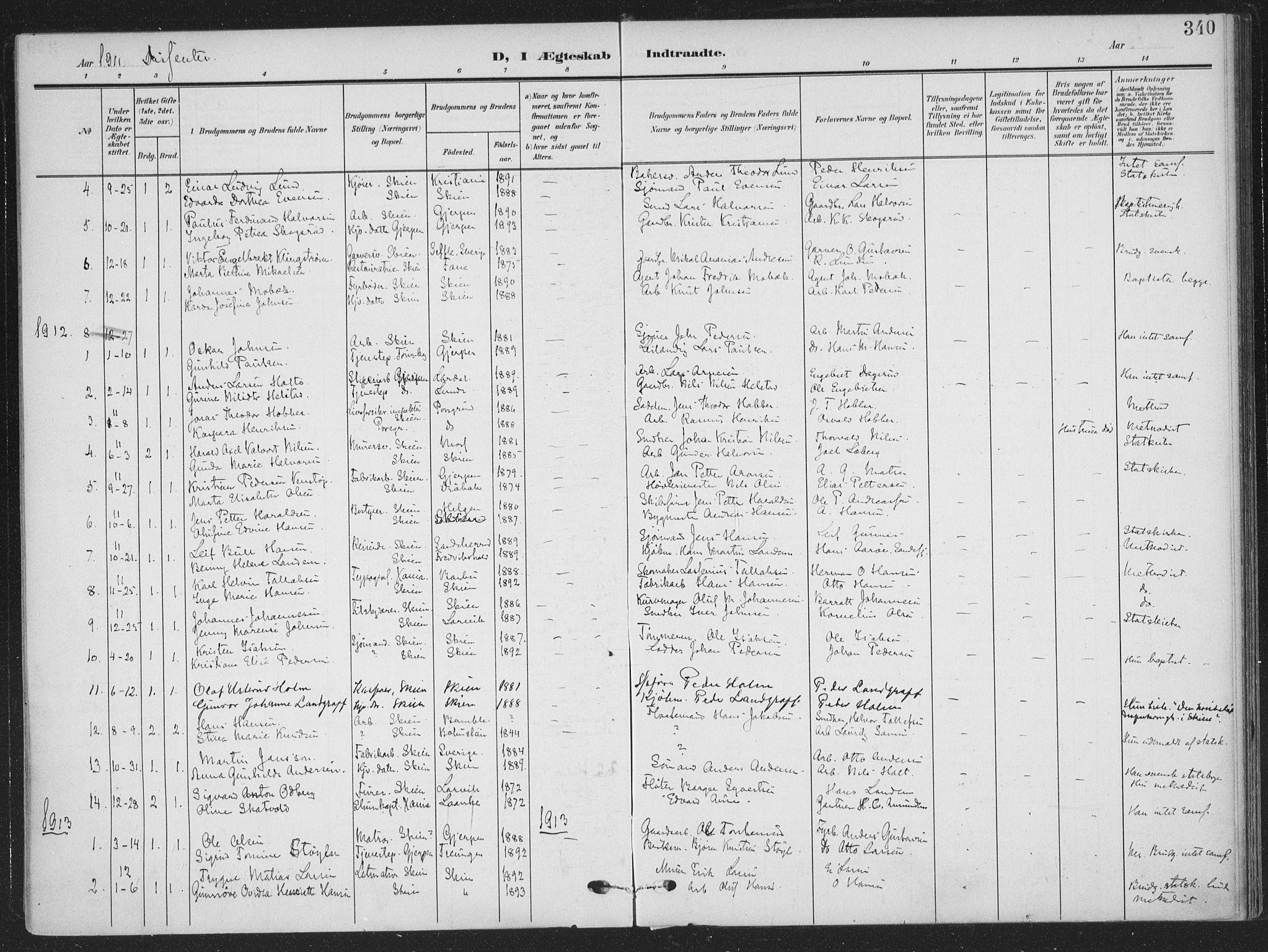 SAKO, Skien kirkebøker, F/Fa/L0012: Ministerialbok nr. 12, 1908-1914, s. 340