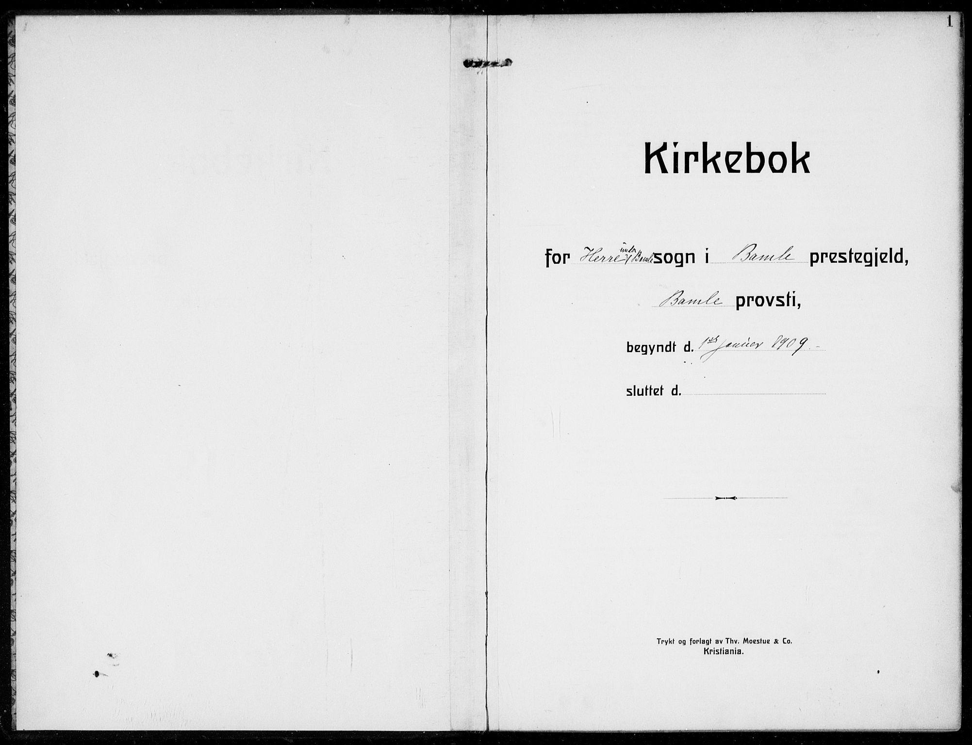 SAKO, Bamble kirkebøker, F/Fc/L0001: Ministerialbok nr. III 1, 1909-1916, s. 1