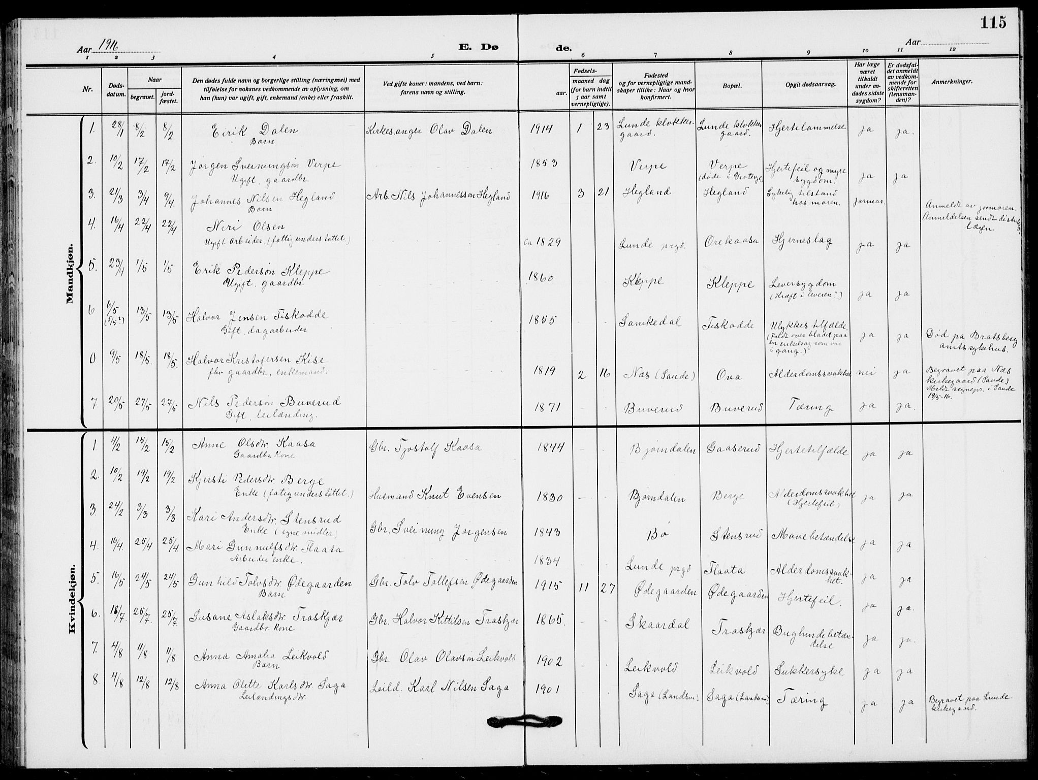 SAKO, Lunde kirkebøker, F/Fa/L0005: Ministerialbok nr. I 5, 1914-1922, s. 115