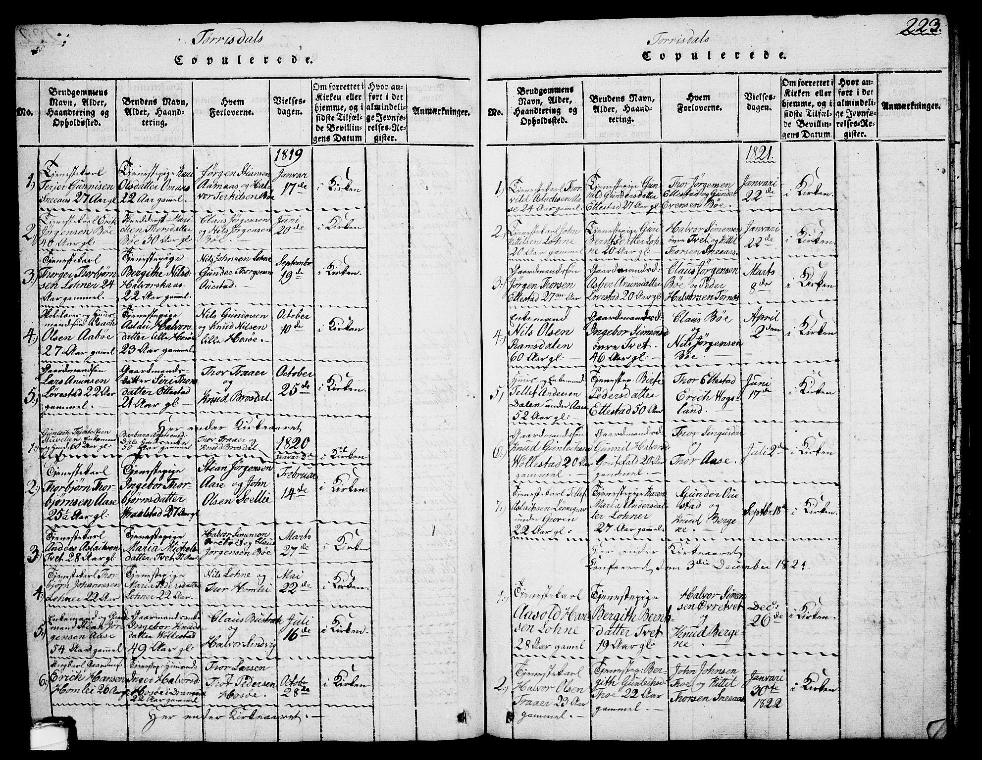 SAKO, Drangedal kirkebøker, G/Ga/L0001: Klokkerbok nr. I 1 /2, 1814-1856, s. 223