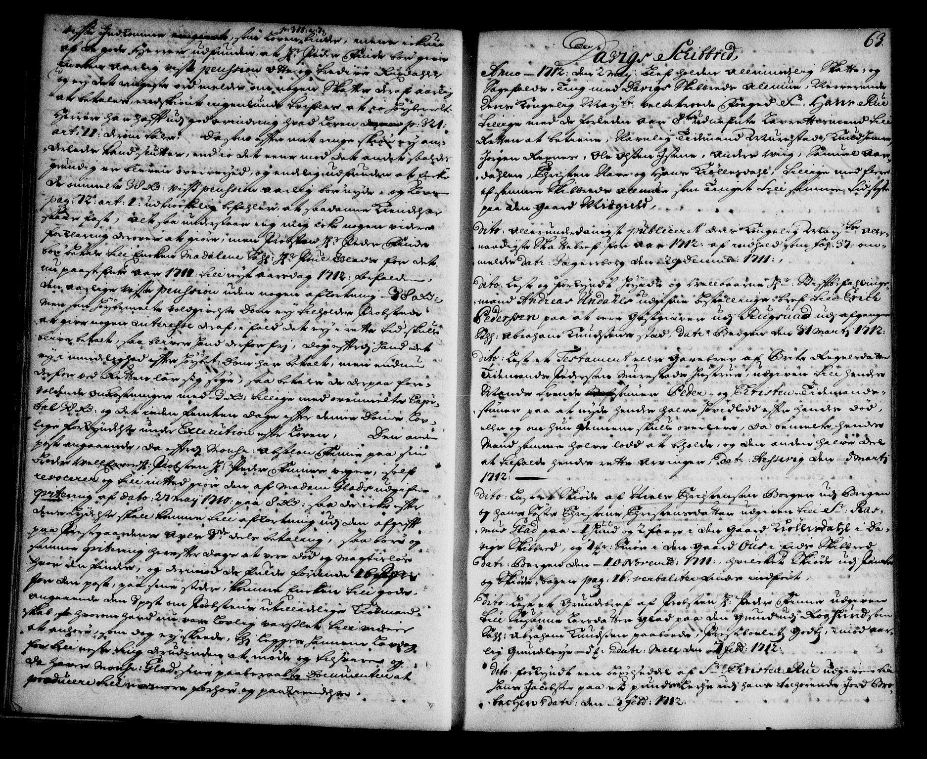 SAB, Nordfjord sorenskriveri, 01/01a/L0018: Tingbøker (justisprotokoller), 1711-1713, s. 62b-63a