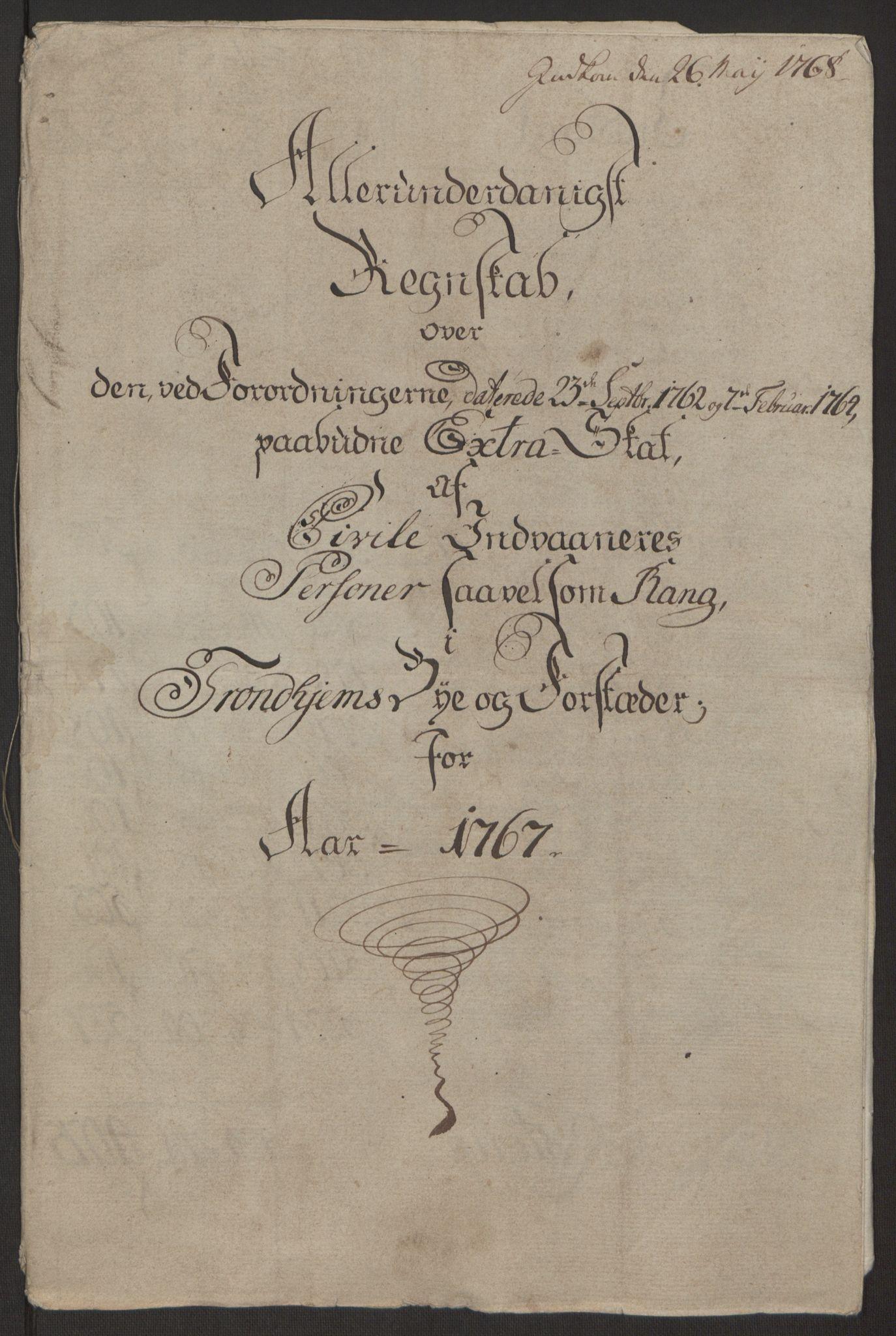 RA, Rentekammeret inntil 1814, Reviderte regnskaper, Byregnskaper, R/Rs/L0516: [S9] Kontribusjonsregnskap, 1762-1767, s. 359