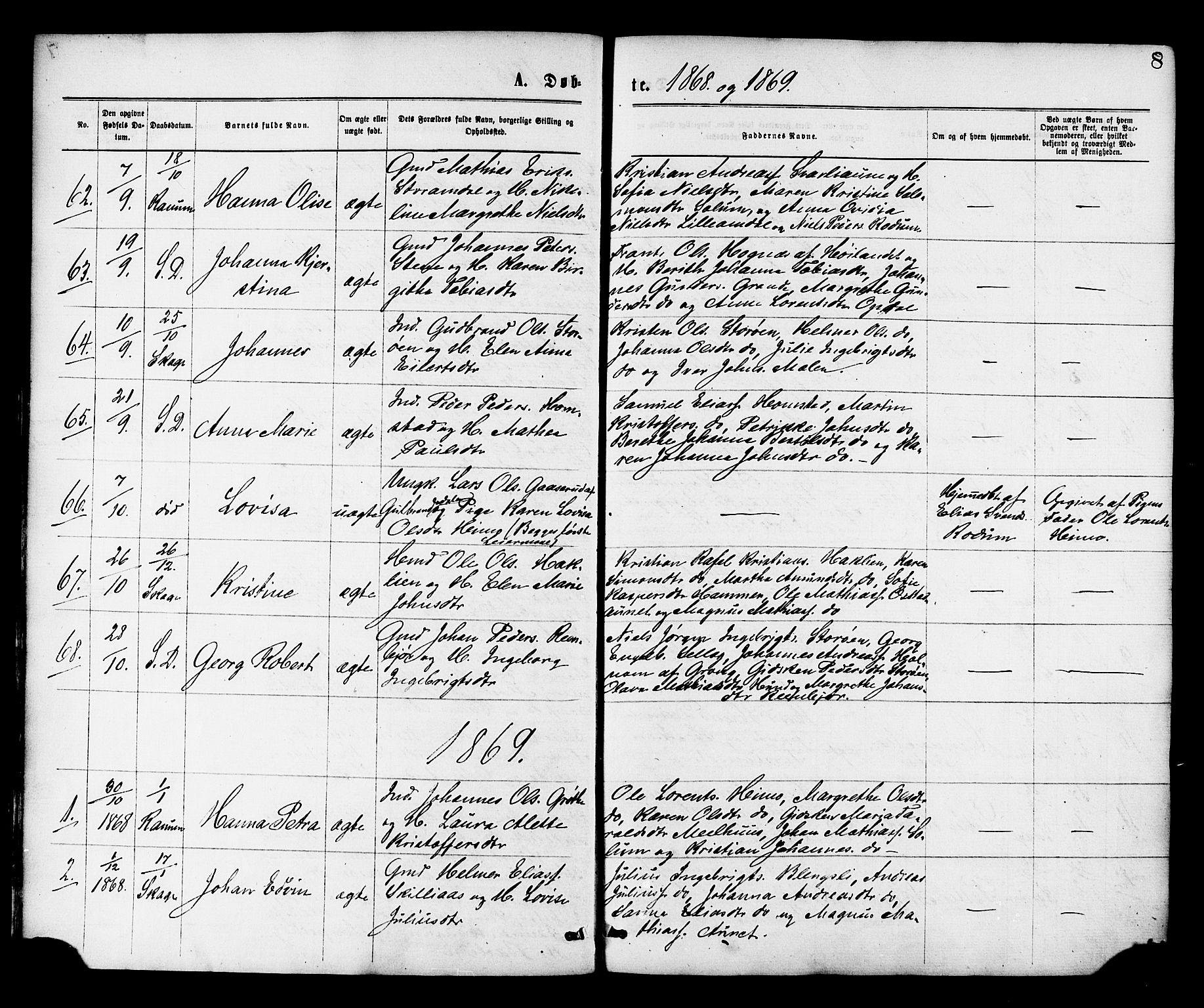 SAT, Ministerialprotokoller, klokkerbøker og fødselsregistre - Nord-Trøndelag, 764/L0554: Ministerialbok nr. 764A09, 1867-1880, s. 8