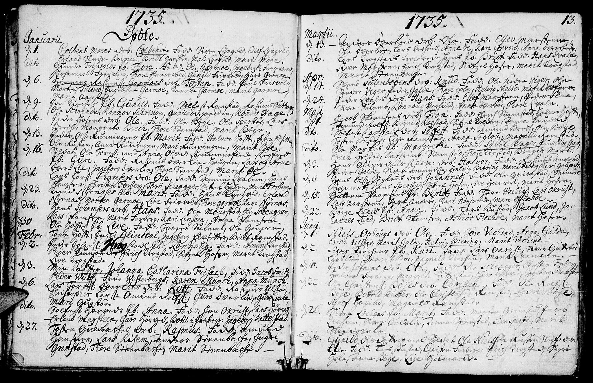 SAH, Lom prestekontor, K/L0001: Ministerialbok nr. 1, 1733-1748, s. 13