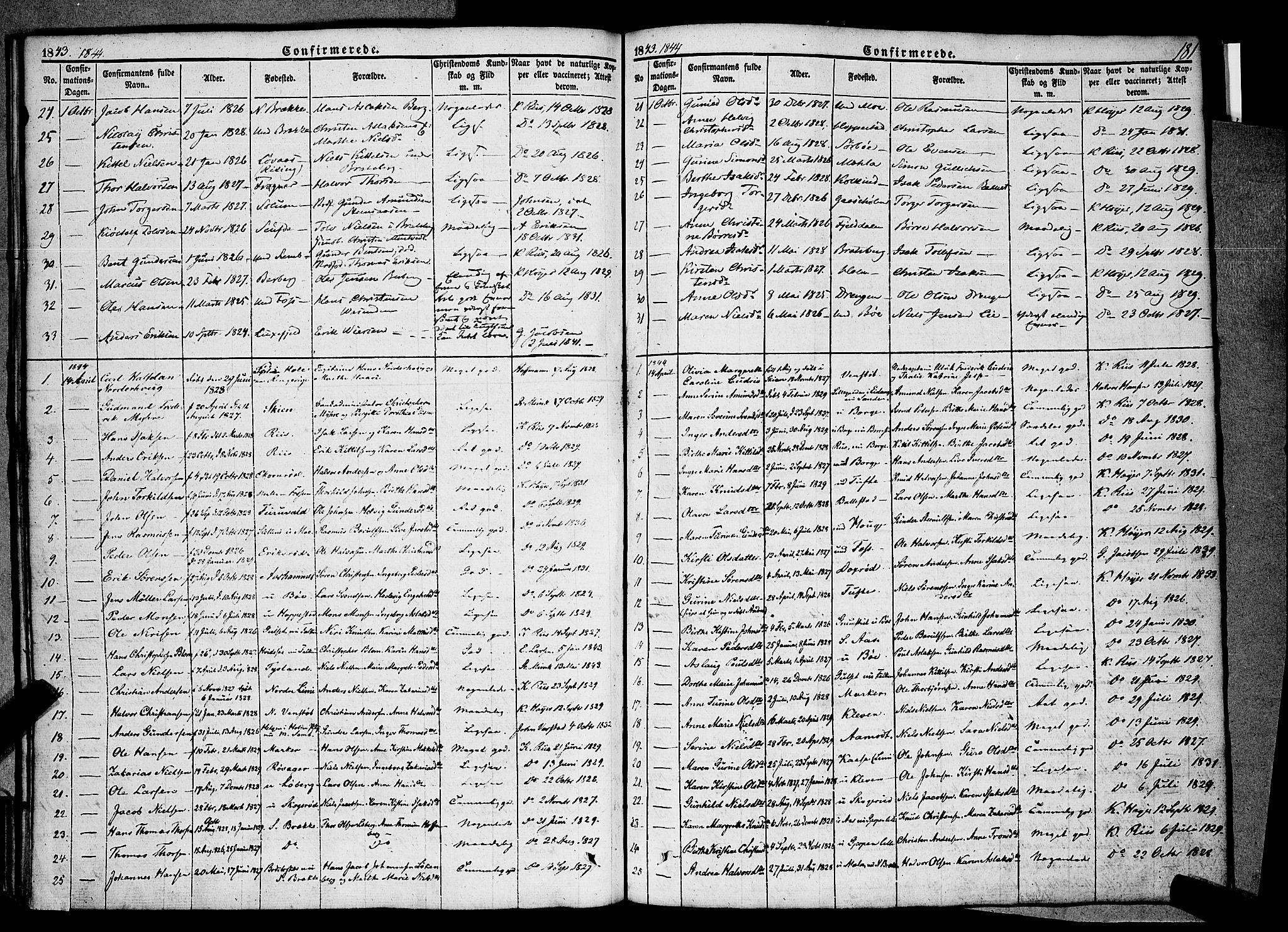 SAKO, Gjerpen kirkebøker, F/Fa/L0007a: Ministerialbok nr. 7A, 1834-1857, s. 181