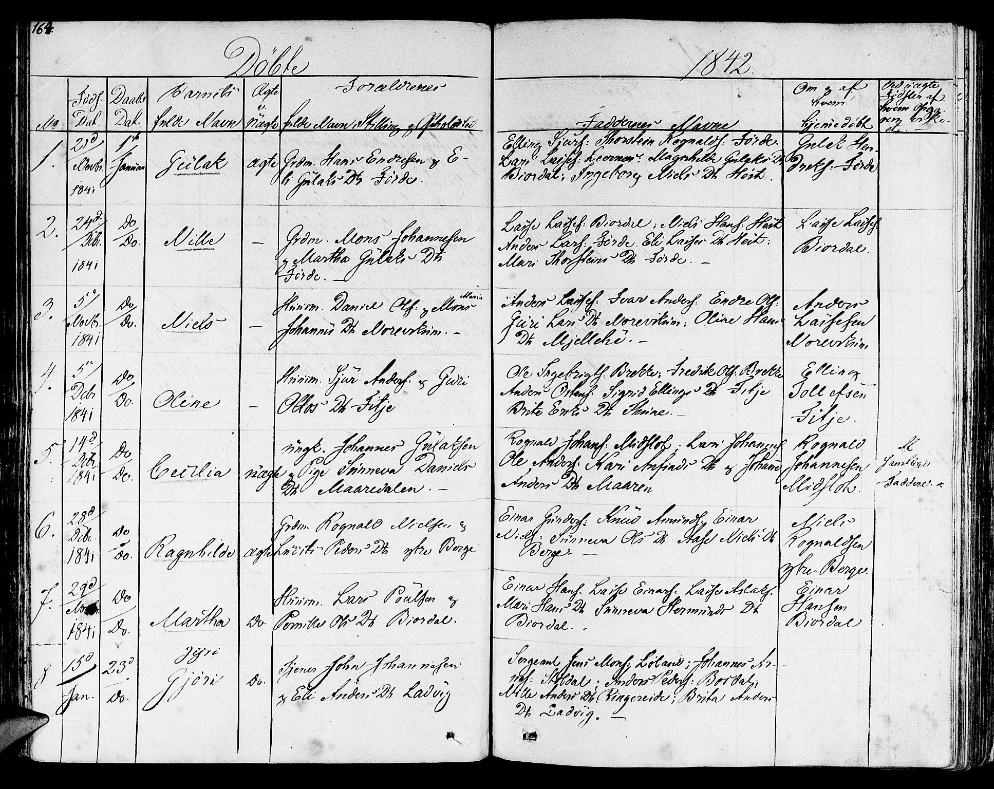 SAB, Lavik sokneprestembete, Ministerialbok nr. A 2I, 1821-1842, s. 164
