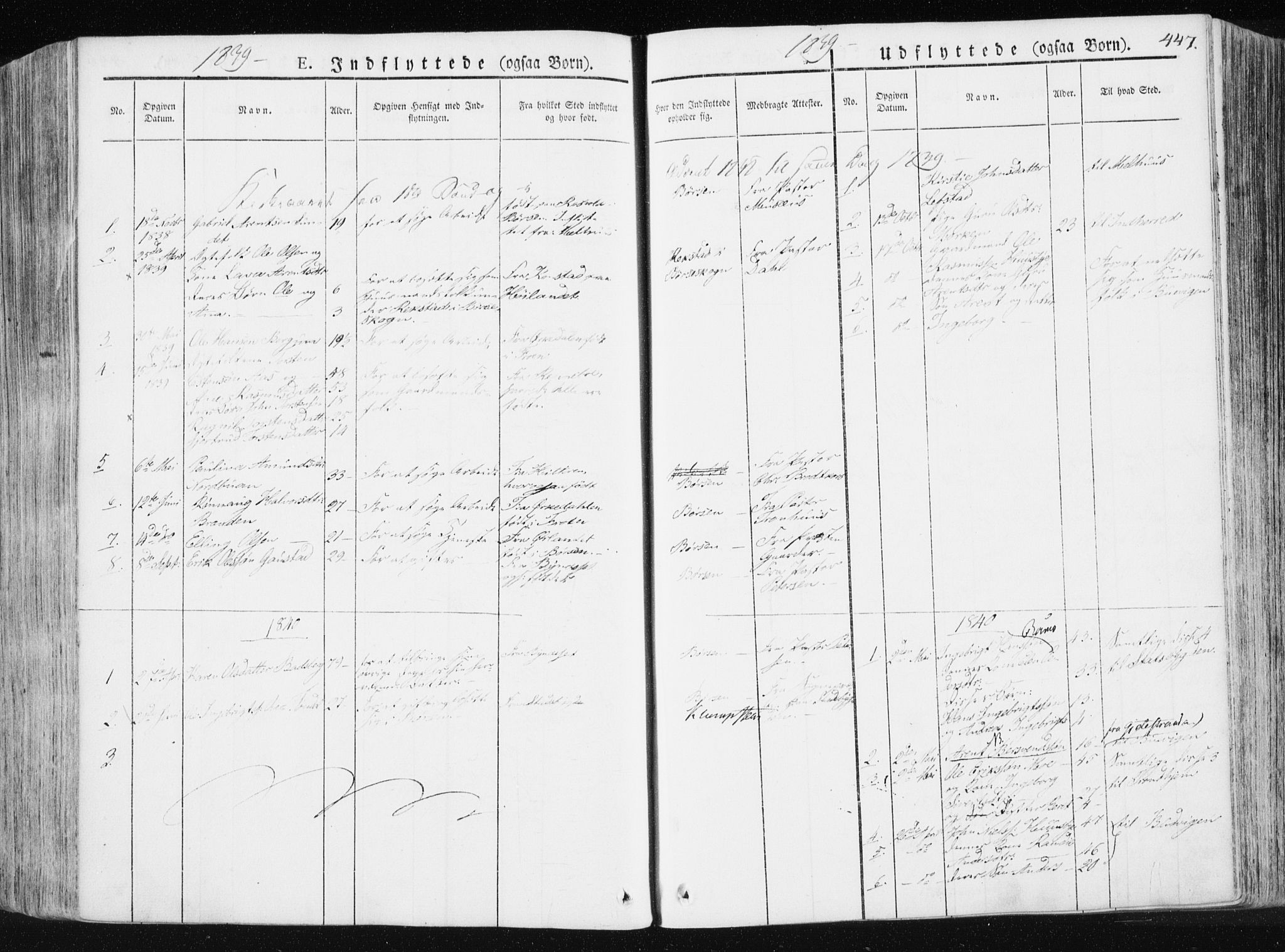 SAT, Ministerialprotokoller, klokkerbøker og fødselsregistre - Sør-Trøndelag, 665/L0771: Ministerialbok nr. 665A06, 1830-1856, s. 447