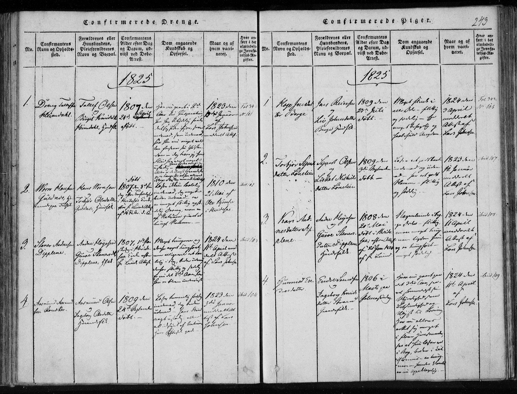 SAKO, Lårdal kirkebøker, F/Fa/L0005: Ministerialbok nr. I 5, 1815-1860, s. 243