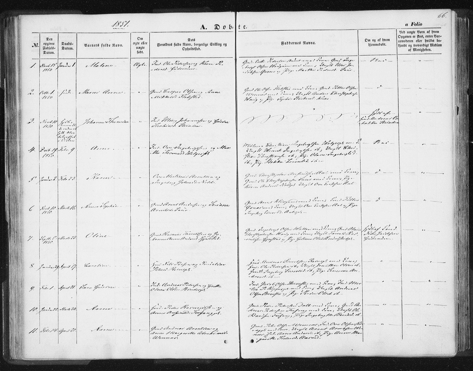SAT, Ministerialprotokoller, klokkerbøker og fødselsregistre - Nord-Trøndelag, 746/L0446: Ministerialbok nr. 746A05, 1846-1859, s. 66