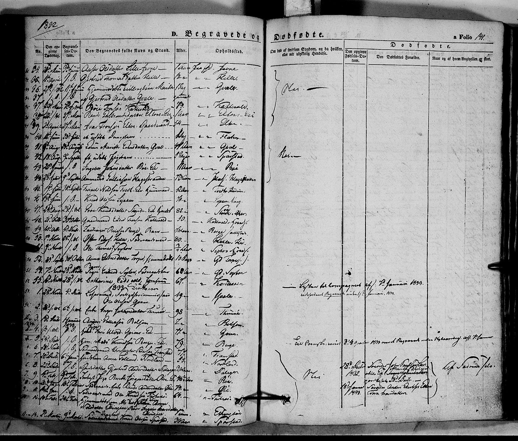 SAH, Vang prestekontor, Valdres, Ministerialbok nr. 5, 1831-1845, s. 141