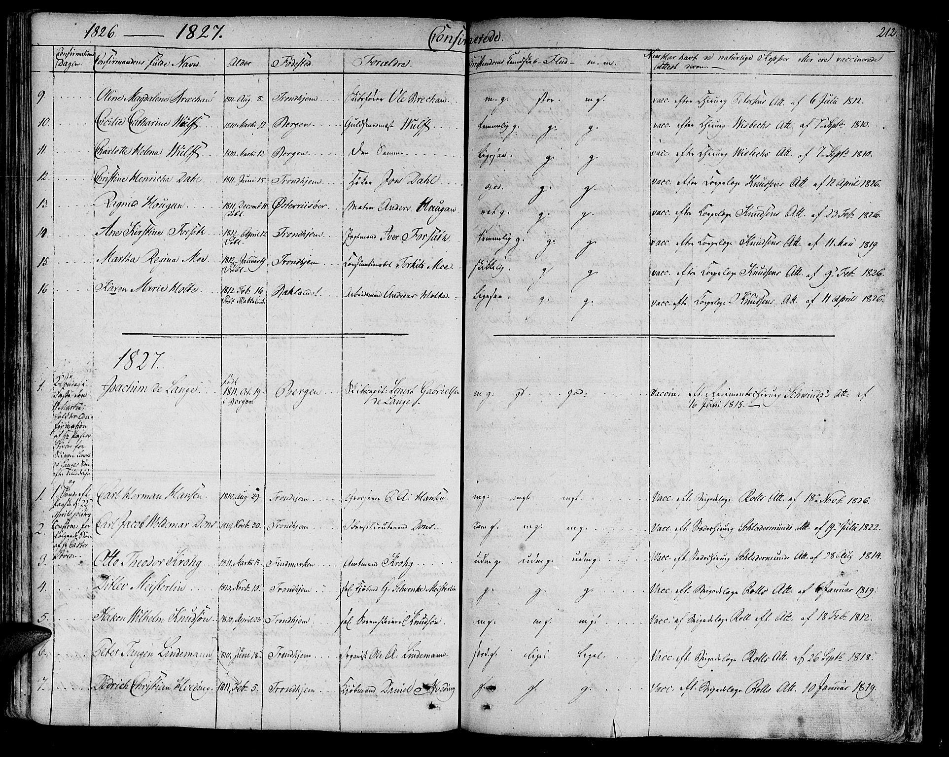 SAT, Ministerialprotokoller, klokkerbøker og fødselsregistre - Sør-Trøndelag, 602/L0108: Ministerialbok nr. 602A06, 1821-1839, s. 212